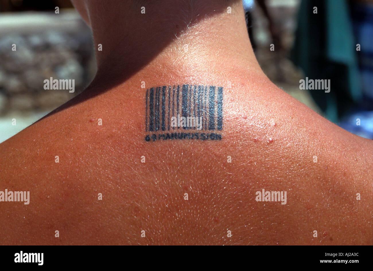 Young British Woman With Manumission Barcode Tattoo Ibiza