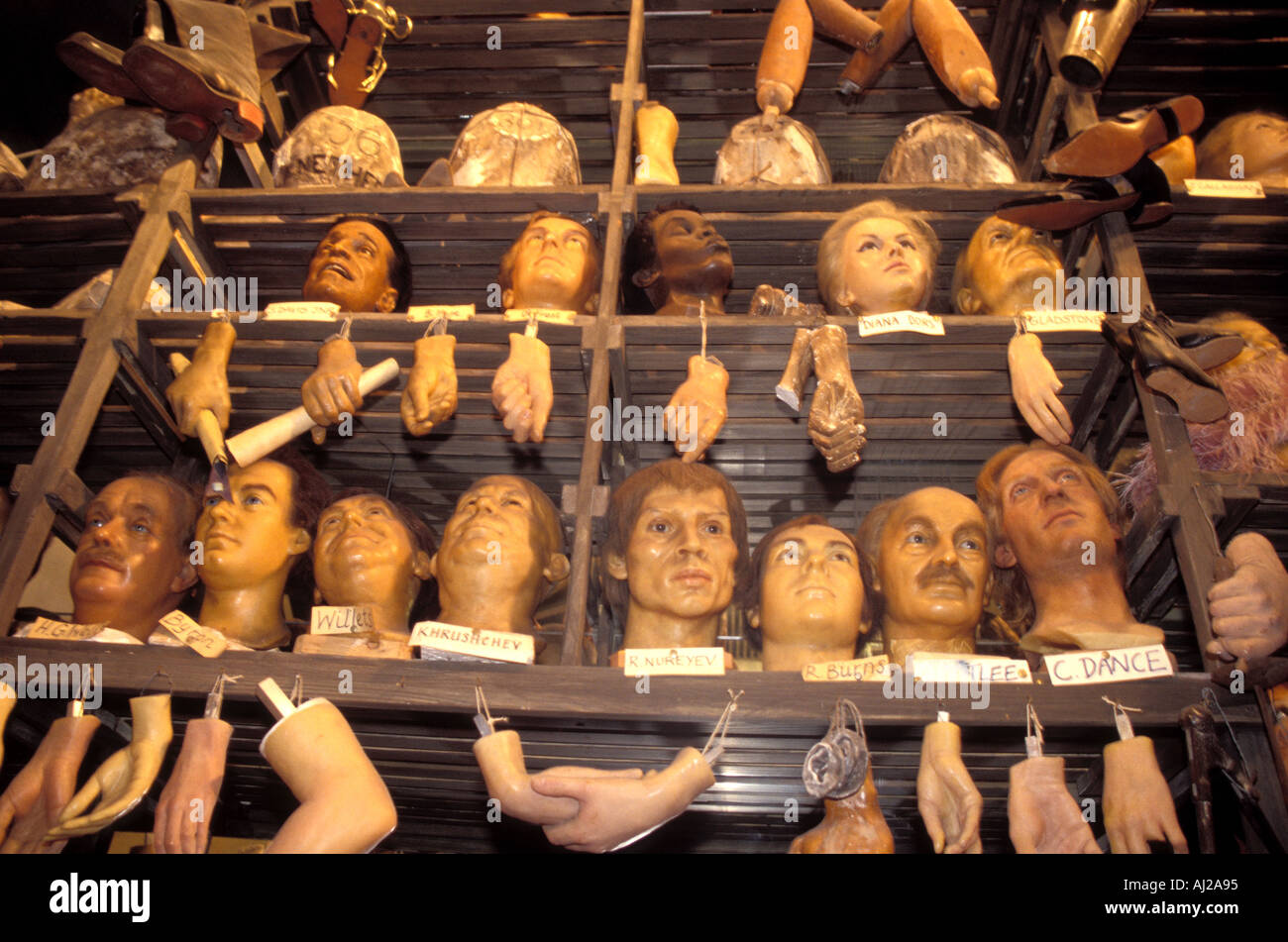 Waxwork heads and hands at Madame Tussauds London England UK - Stock Image
