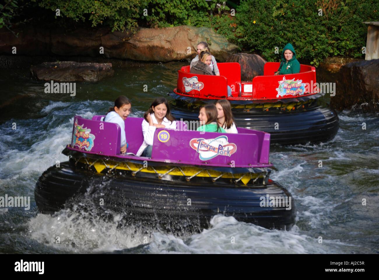 Rumba Rapids Ride, Calypso Quay, Thorpe Park Theme Park, Chertsey, Surrey, UK England - Stock Image