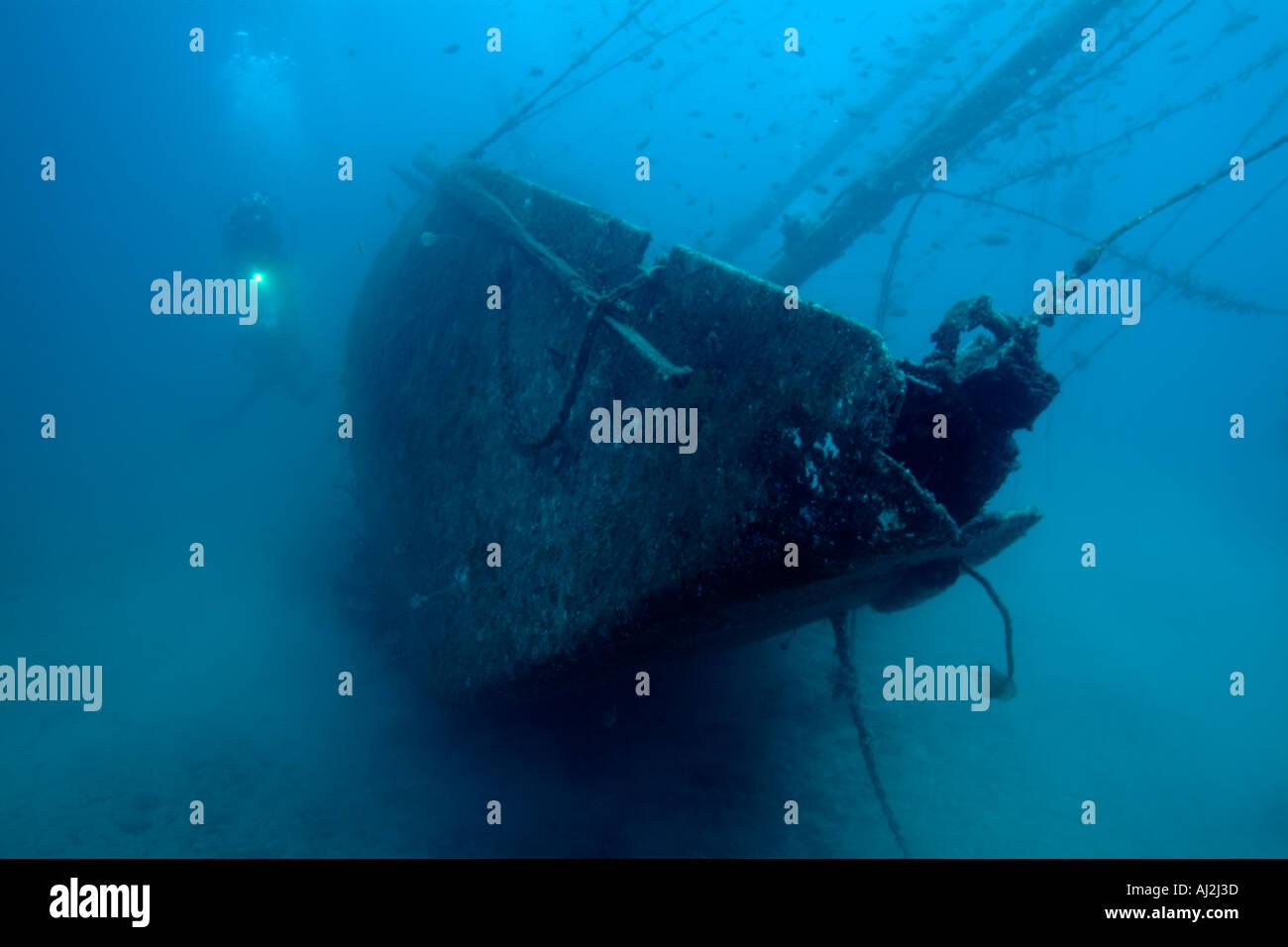 Scuba diver exploring  Le Voilier Shipwreck, La Ciotat, France. - Stock Image
