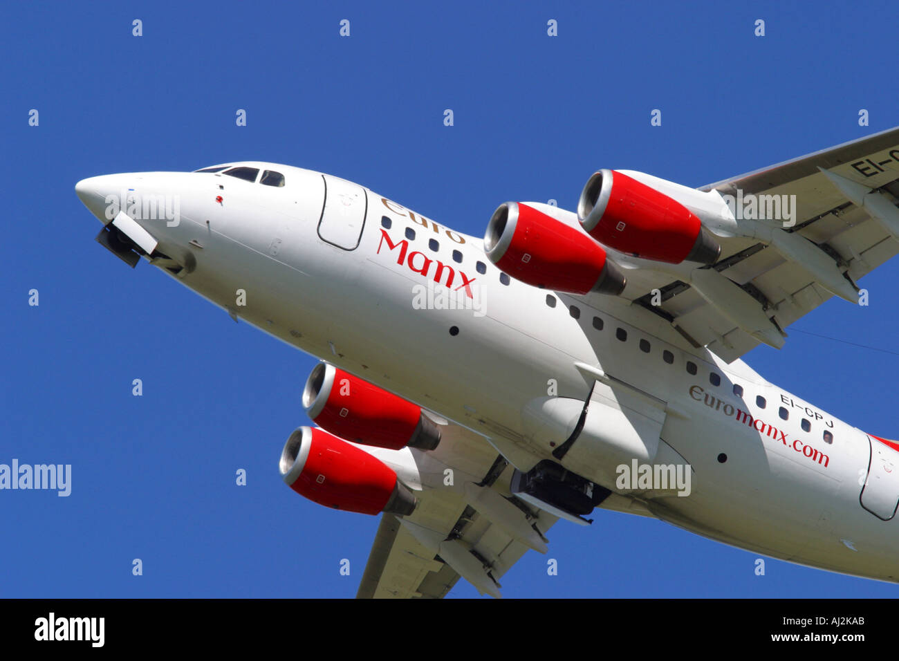 Euro Manx Bae 146 regional airliner from the Isle of Man taking off Stock Photo