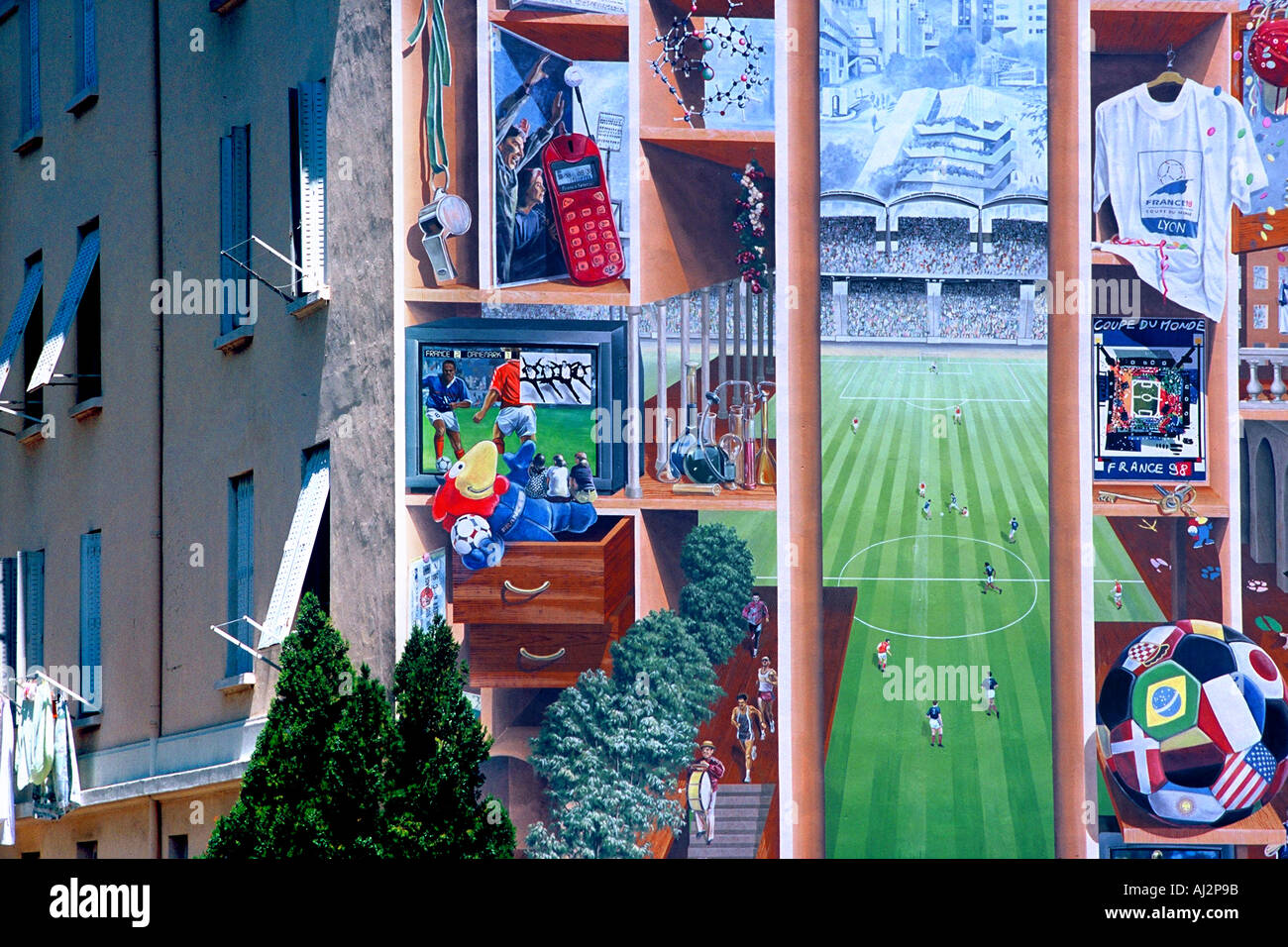 Gerland fresco of sport Stock Photo