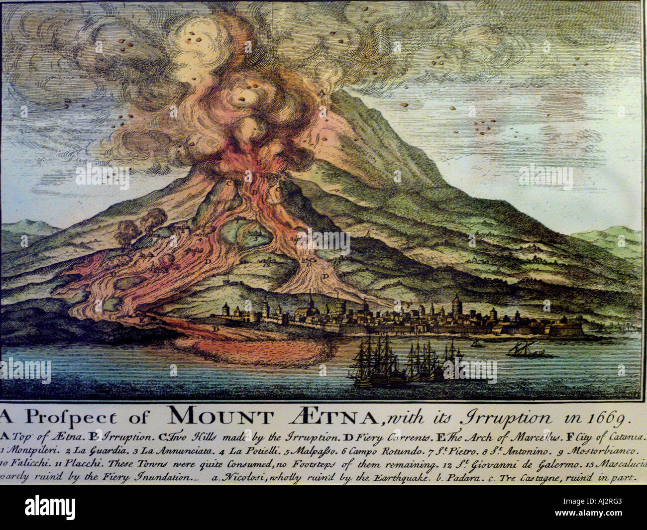 Sicily Italy Wood Cut of Mt Etna Erupting in 1669