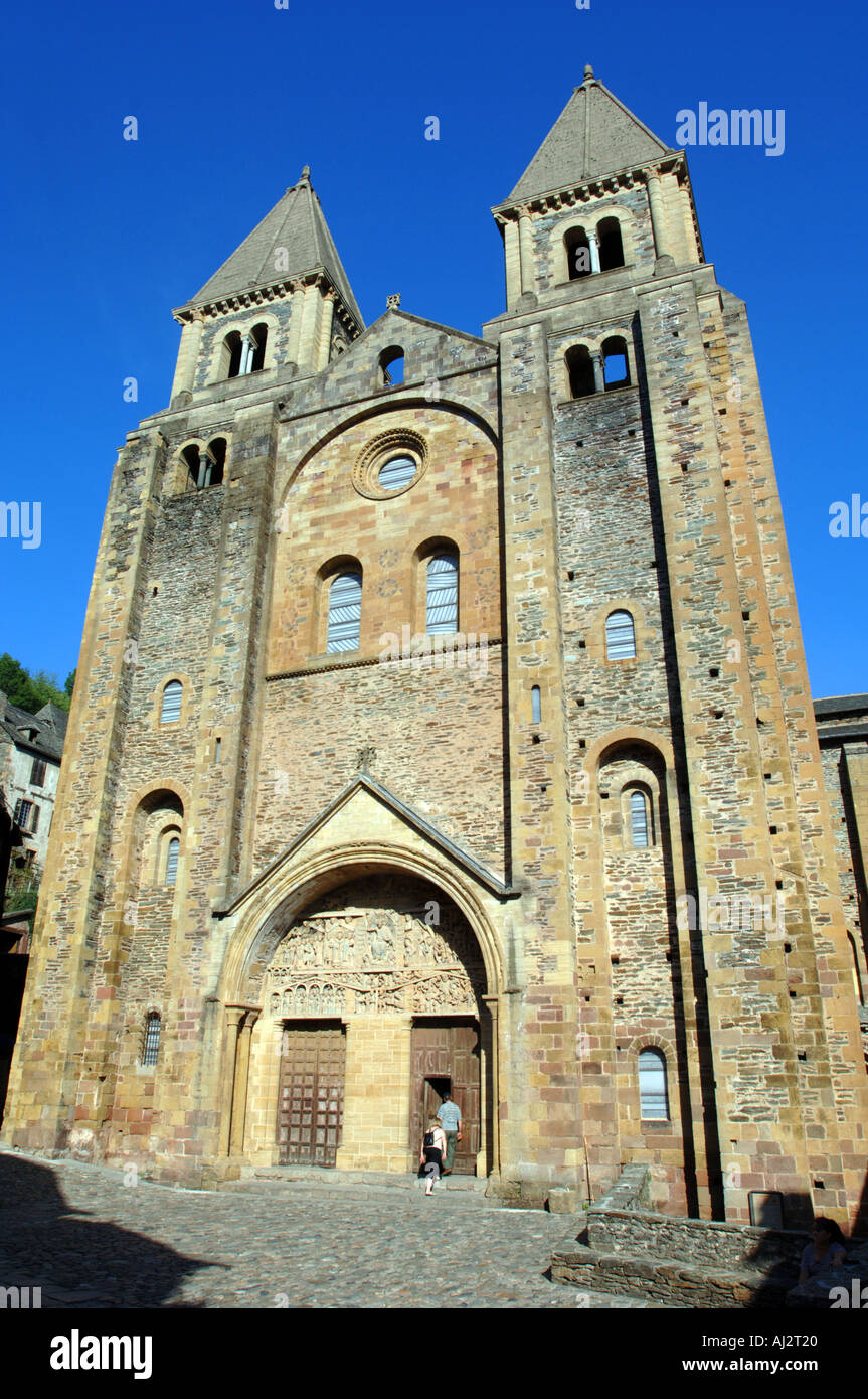 Cathedral in the village of Conques in Aveyron France - Stock Image
