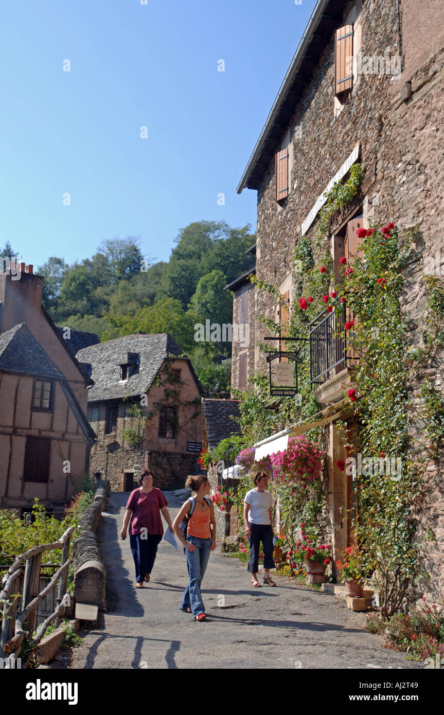 Village of Conques in Aveyron in France - Stock Image