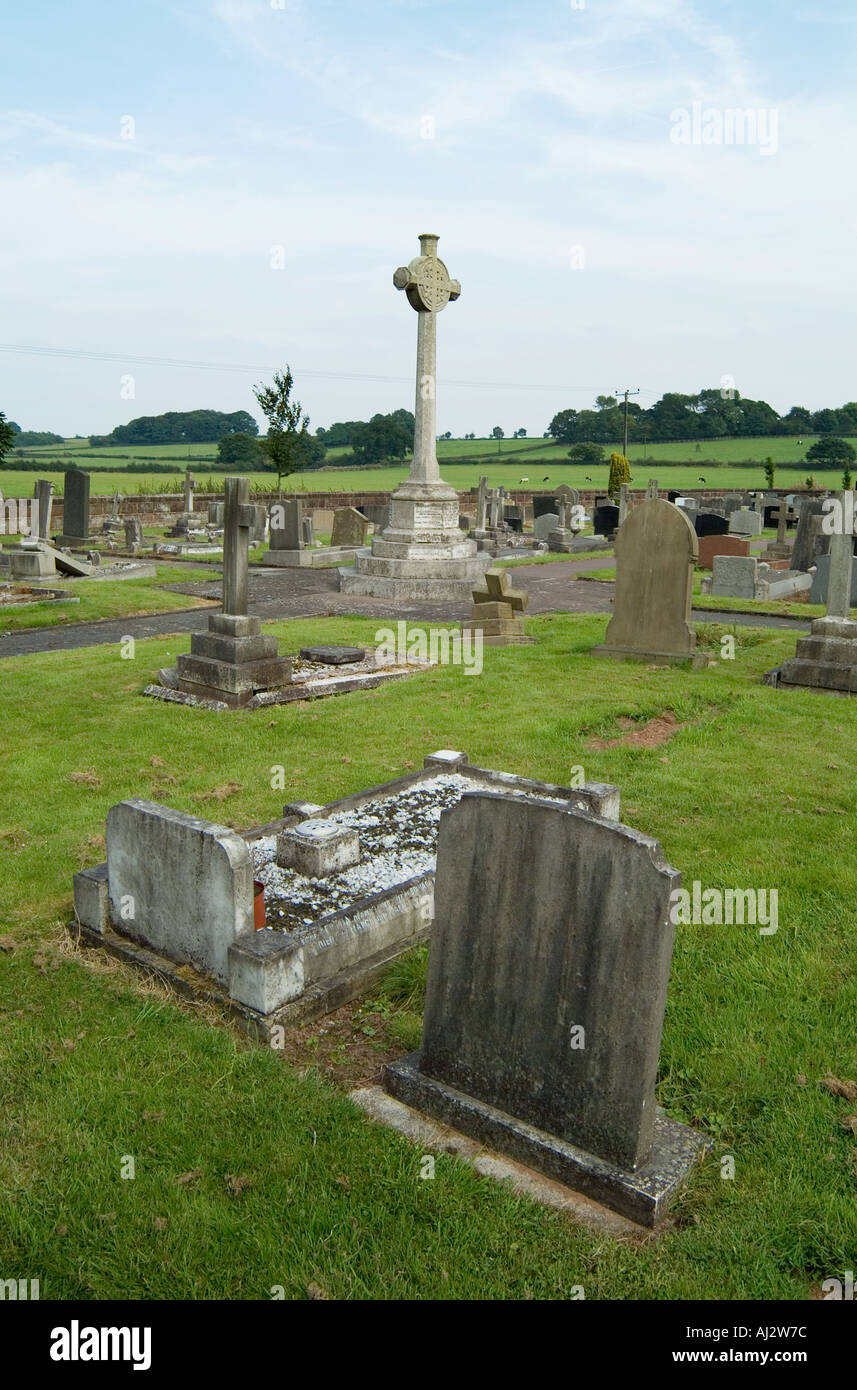 Gravestones in All Saints Church Daresbury where the author of Alice in Wonderland Lewis Carroll once lived - Stock Image