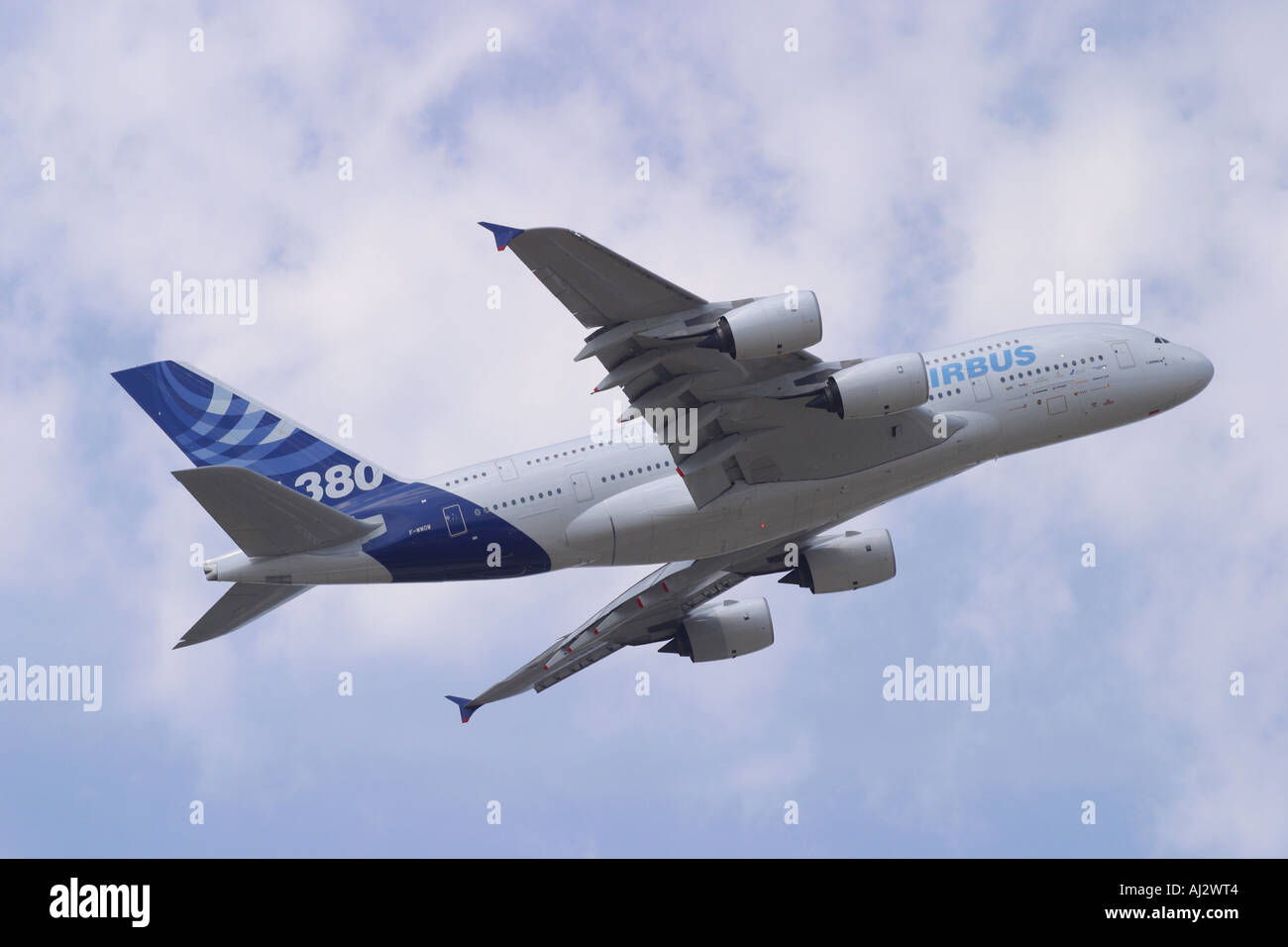 Airbus A380 superjumbo new commercial passenger airliner in flight - Stock Image