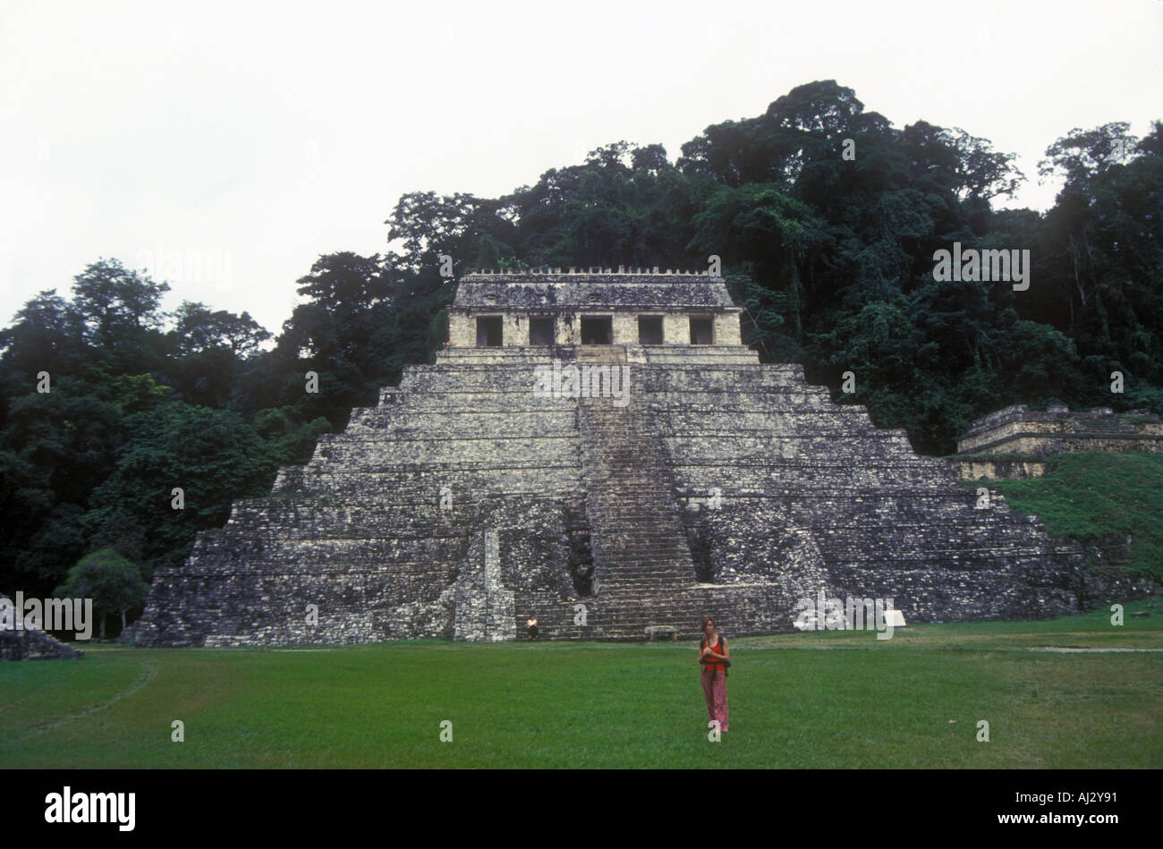 Temple of inscriptions Lord Pacal the Great Built during late classic period around 600 under the rule of Lady K - Stock Image
