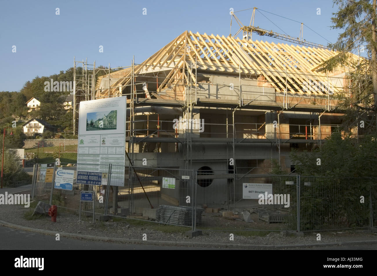 New building under construction at Orbey, Alsace France. - Stock Image