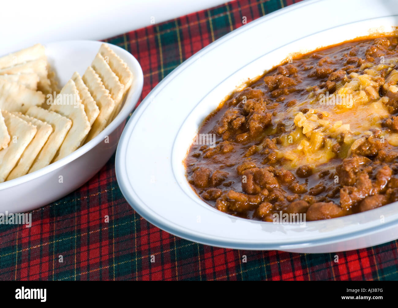A Bowl Of Chili With Saltines Oklahoma Usa Stock Photo Alamy