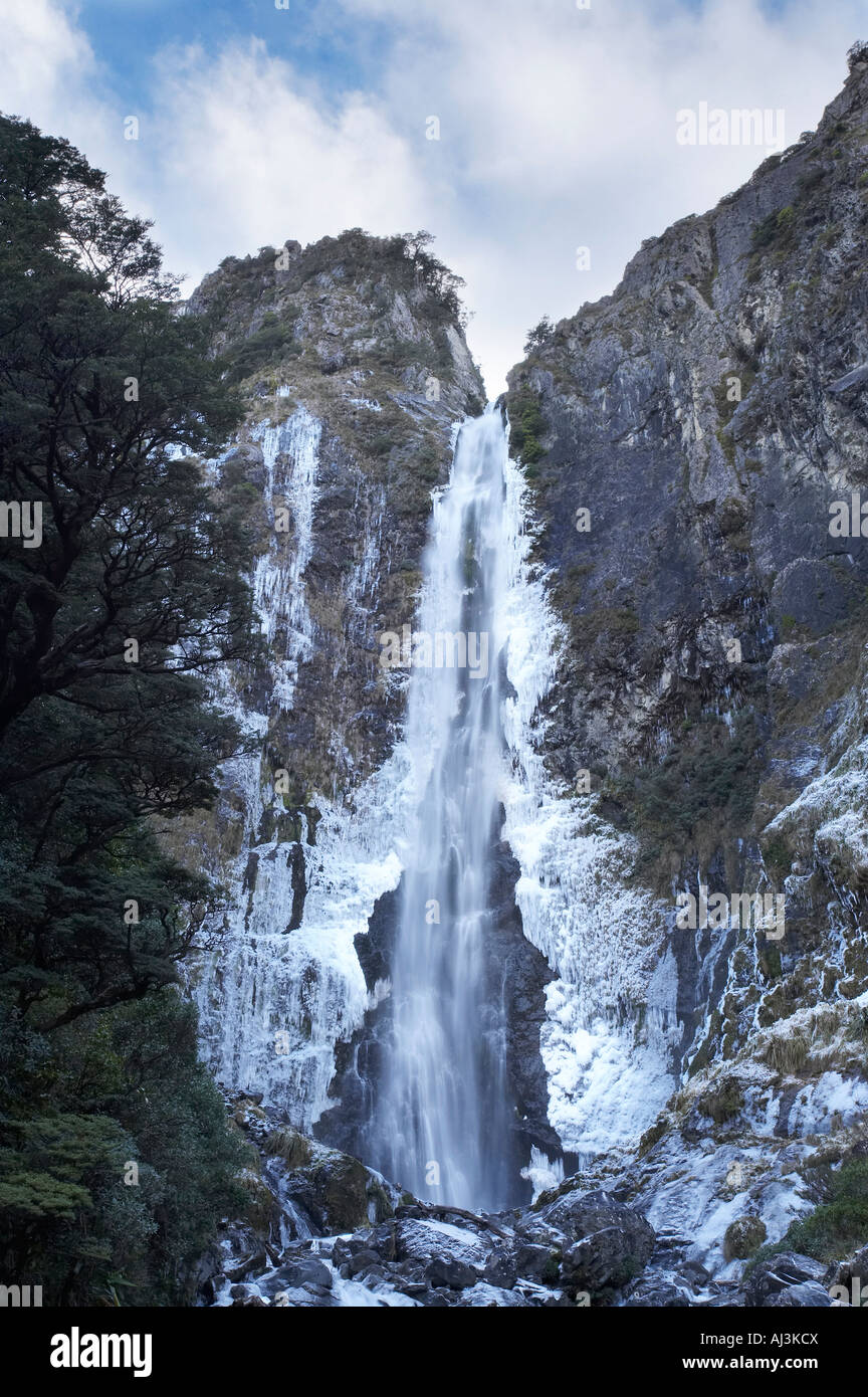 devils punchbowl falls frozen in winter arthur s pass canterbury