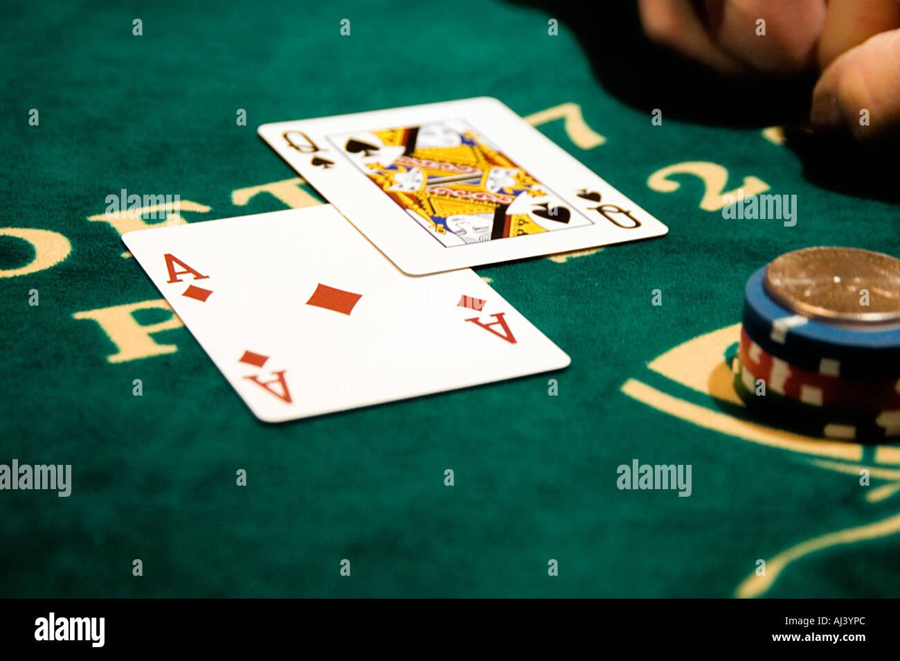 Winning Black Jack hand - Stock Image