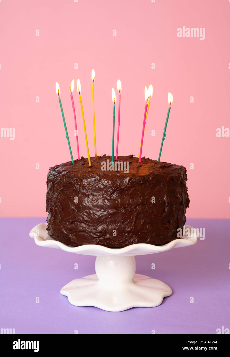 Awe Inspiring Chocolate Birthday Cake Candles Celebration Calories Stock Photos Personalised Birthday Cards Paralily Jamesorg