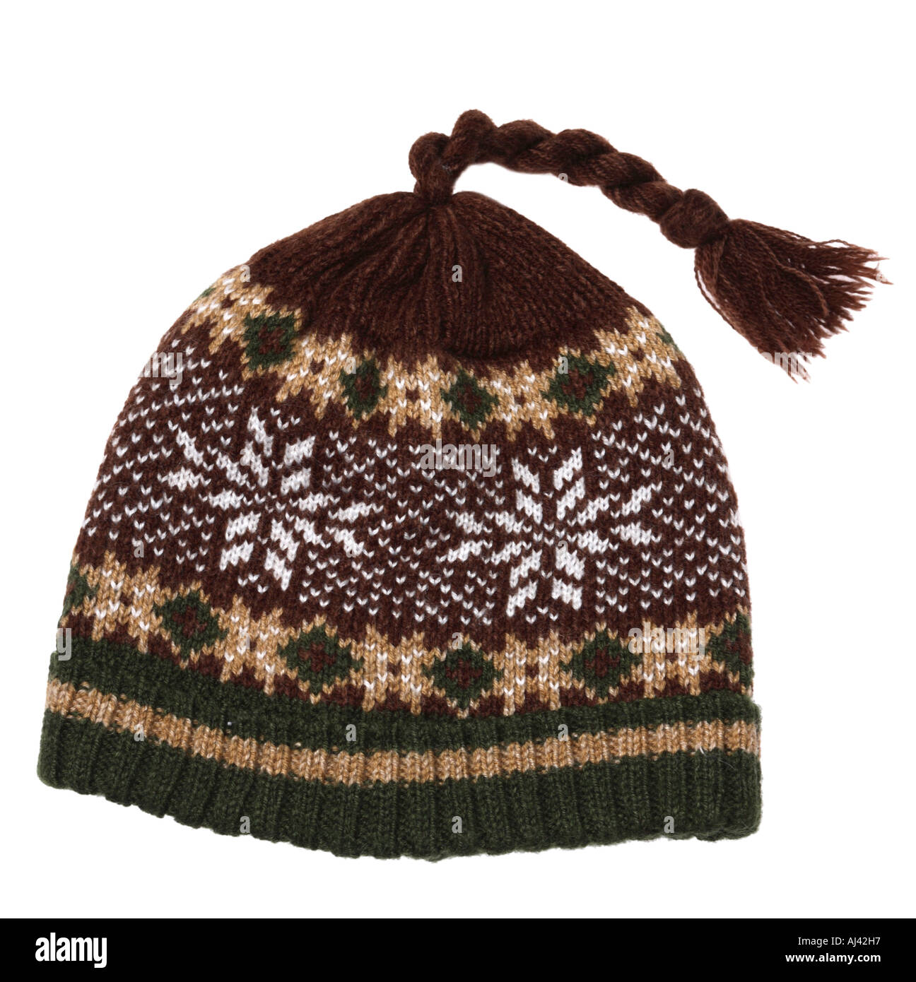 Knit Hat with Tassel - Stock Image