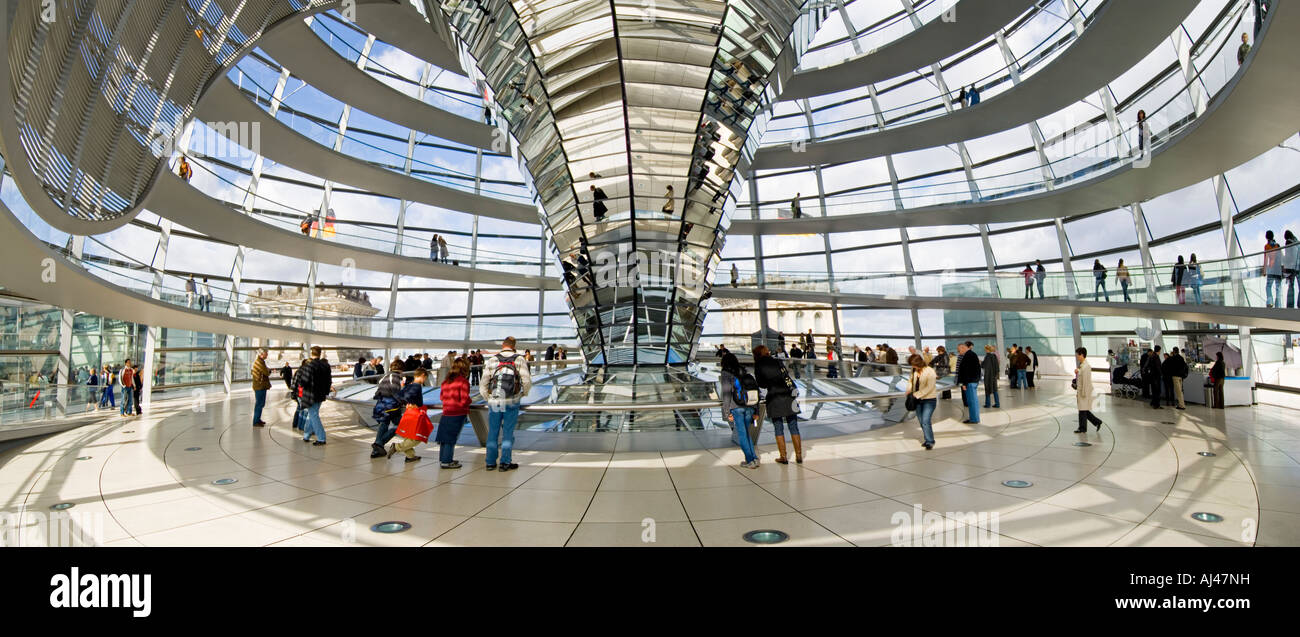 A 2 picture stitch panoramic view of tourists inside the dome on top of the Reichstag - the german parliment building. - Stock Image