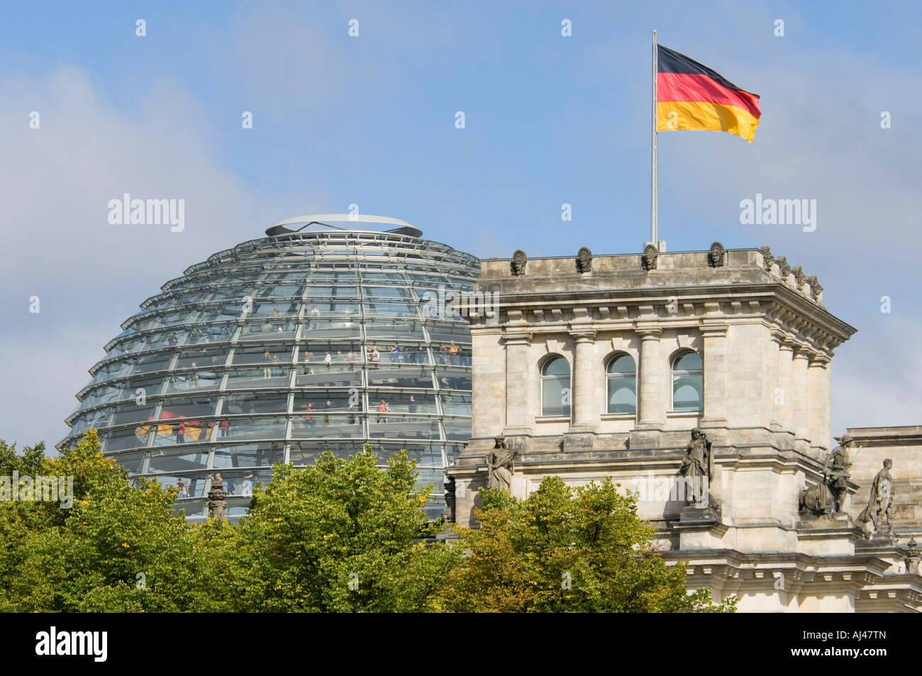A compressed perspective view of tourists inside the dome on top of the Reichstag - the german parliment building. - Stock Image
