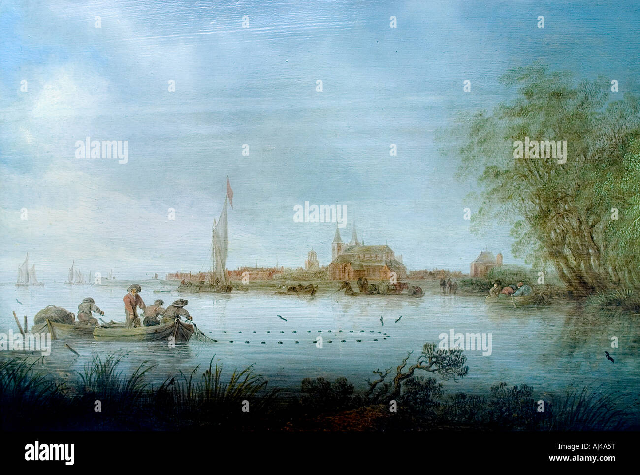 Salomon Jacobsz van Ruysdael 1600 - 1670  River Scene near Deventer 1641 Netherlands Stock Photo