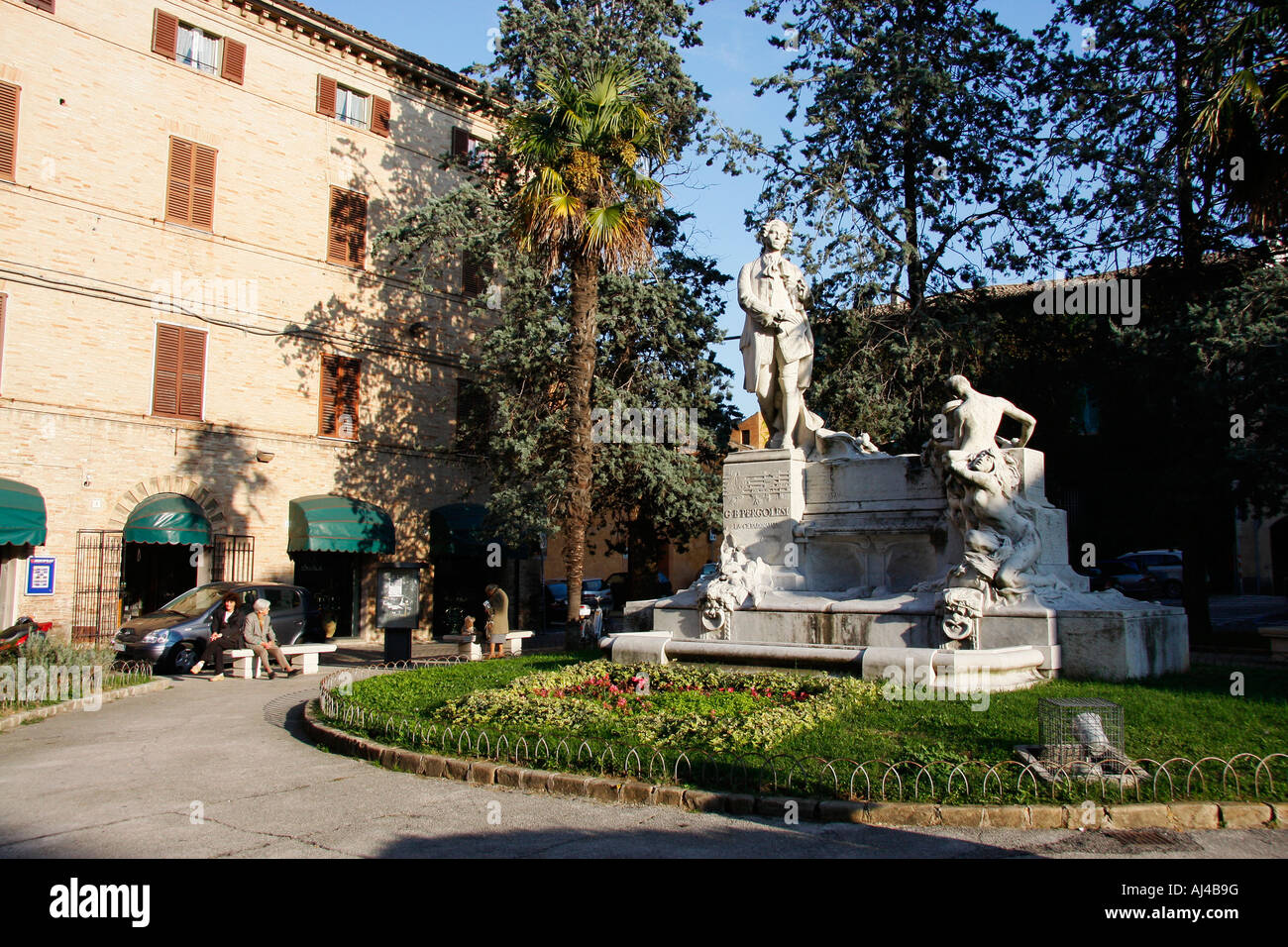 Statue of G.B.Pergolesi,an important  composer and musician after whom the towns theatre.' i Teatri  di Jesi - Stock Image