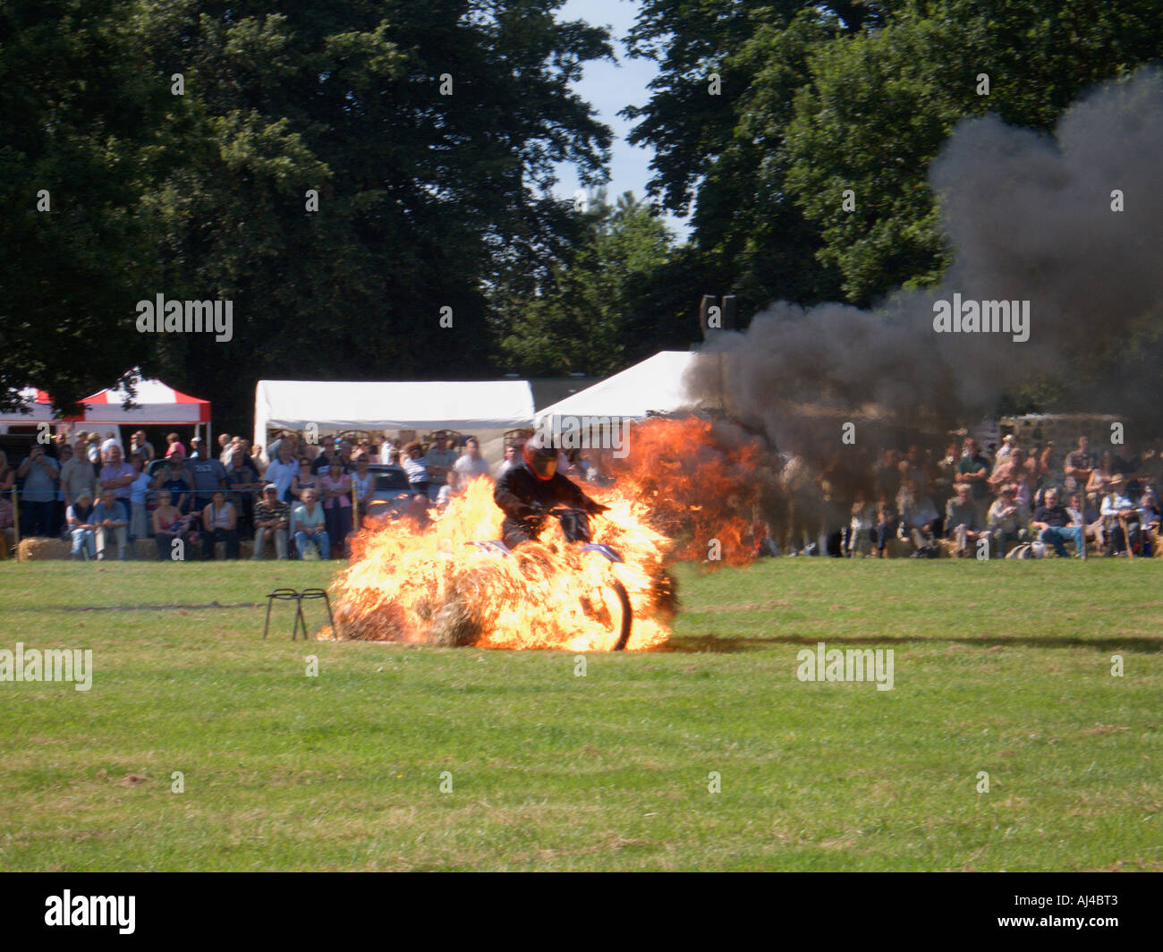 Daredevil Motorcycling Fire Stunt County Fair Cheshire England - Stock Image