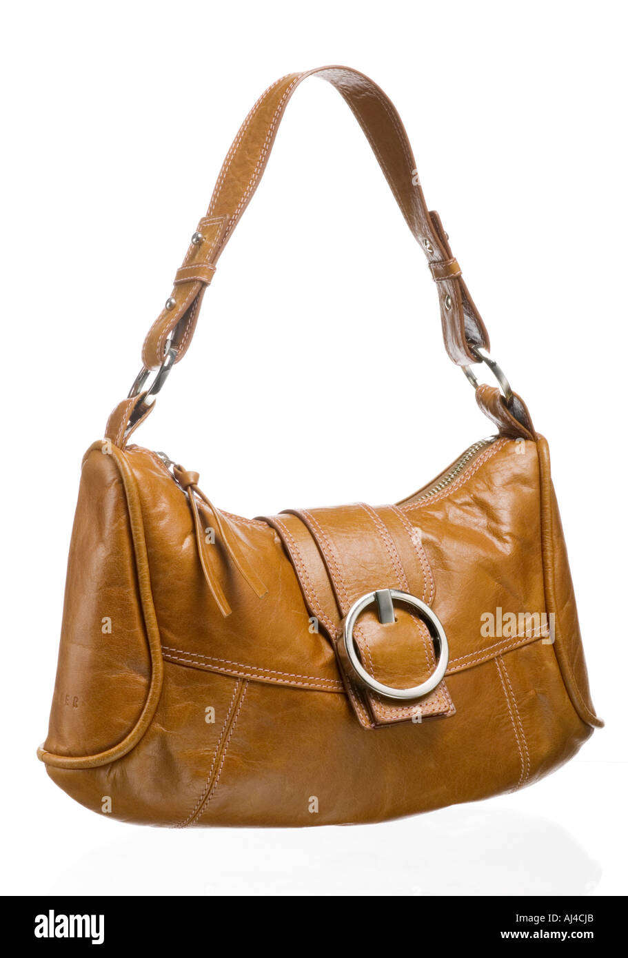Ladies leather handbag with shoulder strap and buckle - Stock Image