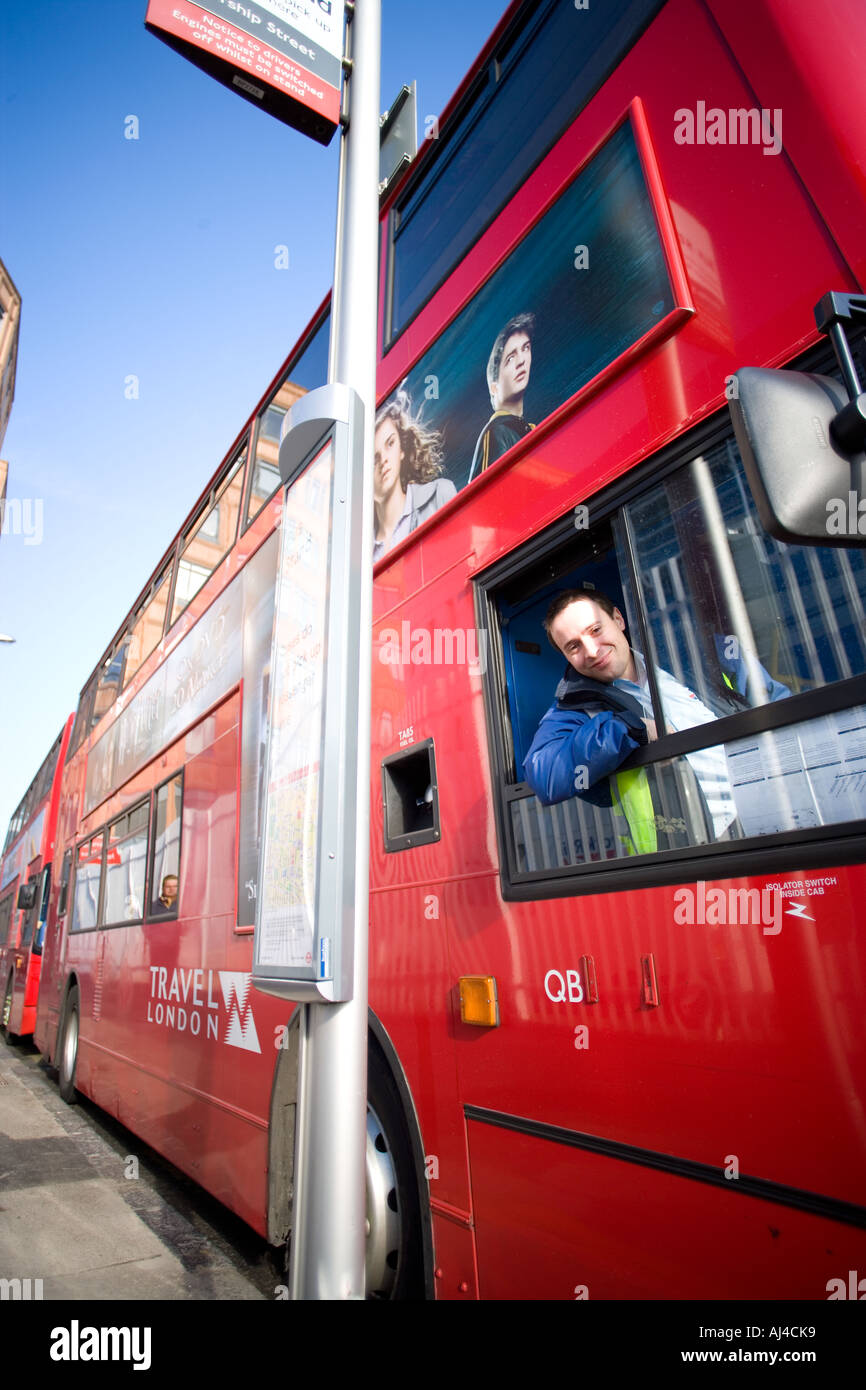 London bus and driver - Stock Image