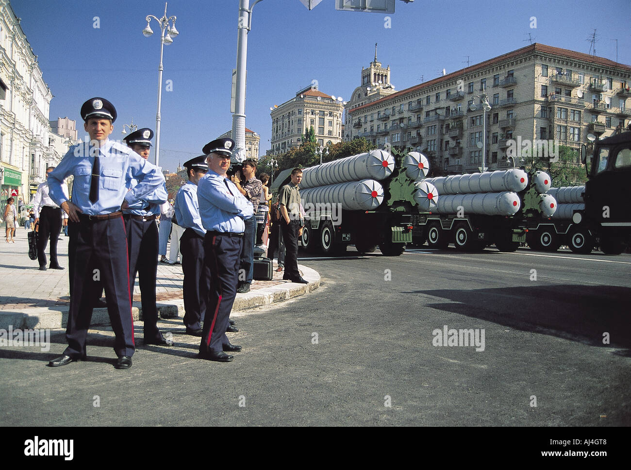 Nuclear missiles in Kiev street in Independence Day. - Stock Image