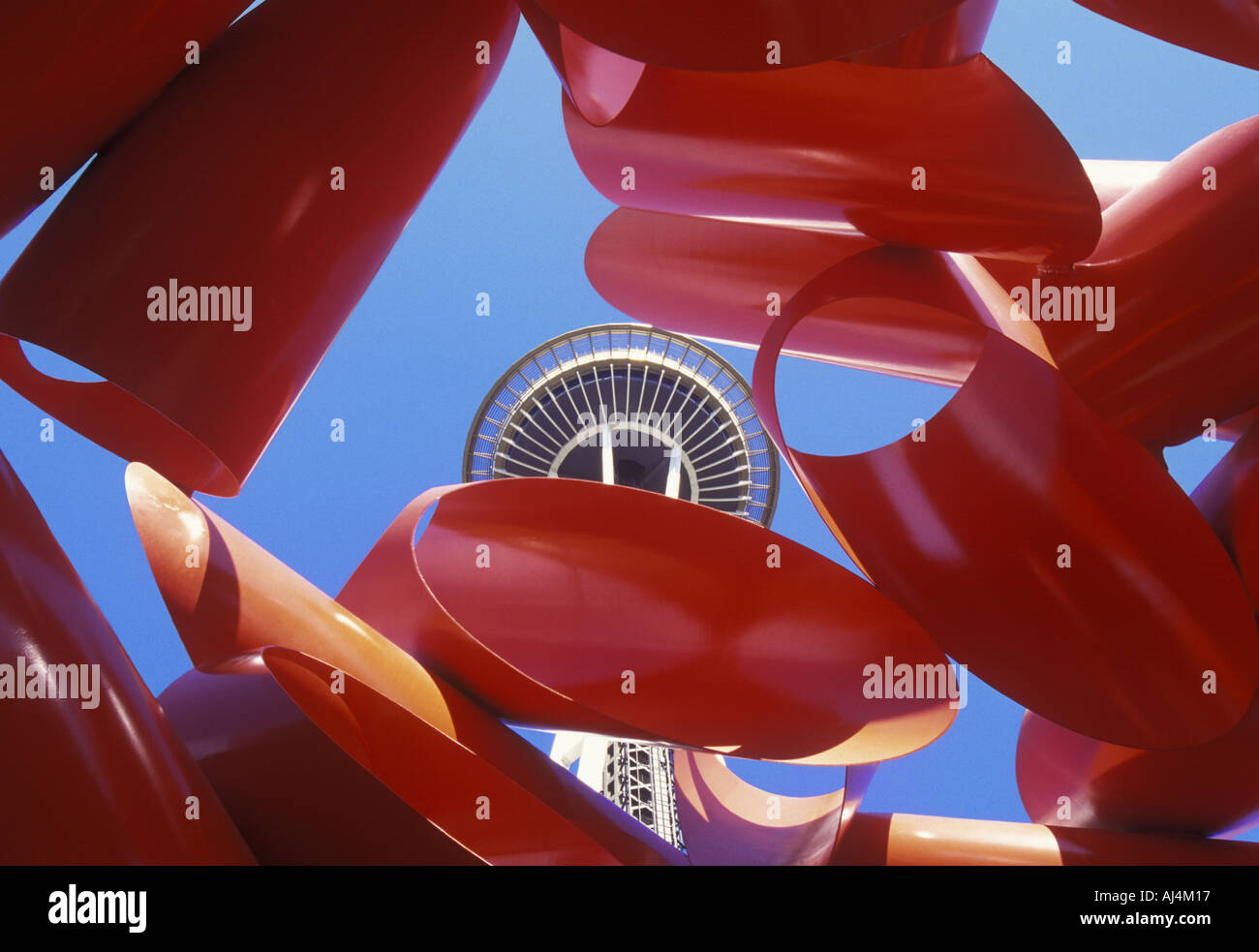 Seattle Washington State Pacific Northwest Space Needle and Olympic Iliad Sculpture Stock Photo