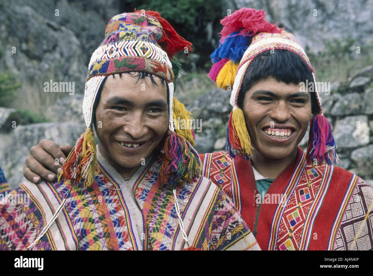 PERU  Porters on the Inca Trail in national dress - Stock Image