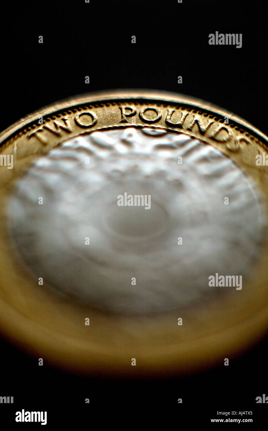 A two pound coin from the Great British Pound currency - Stock Image