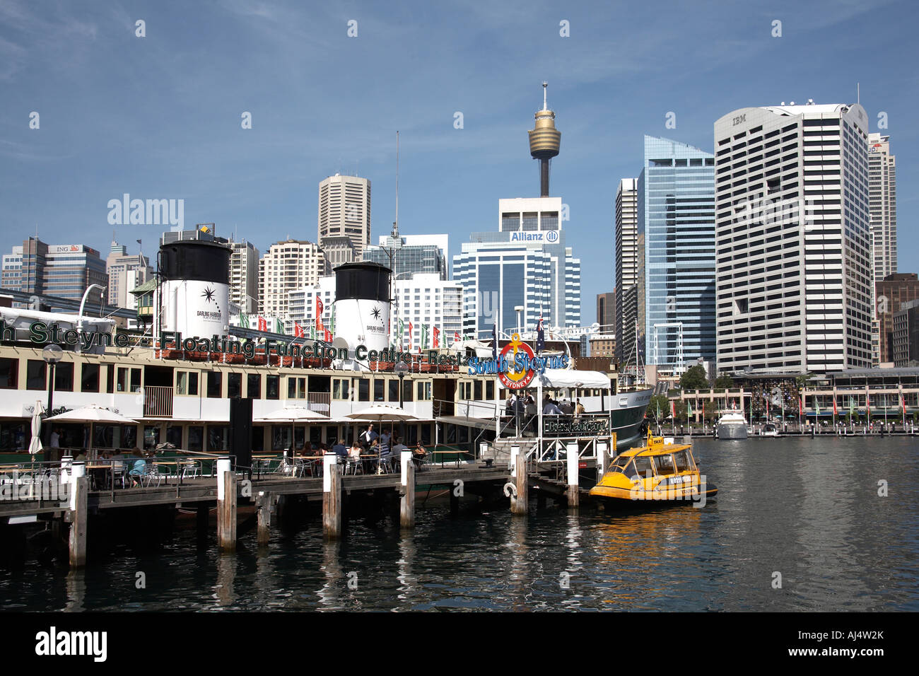 South Steyne floating function centre restaurant in Darling Harbour Sydney New South Wales NSW Australia - Stock Image