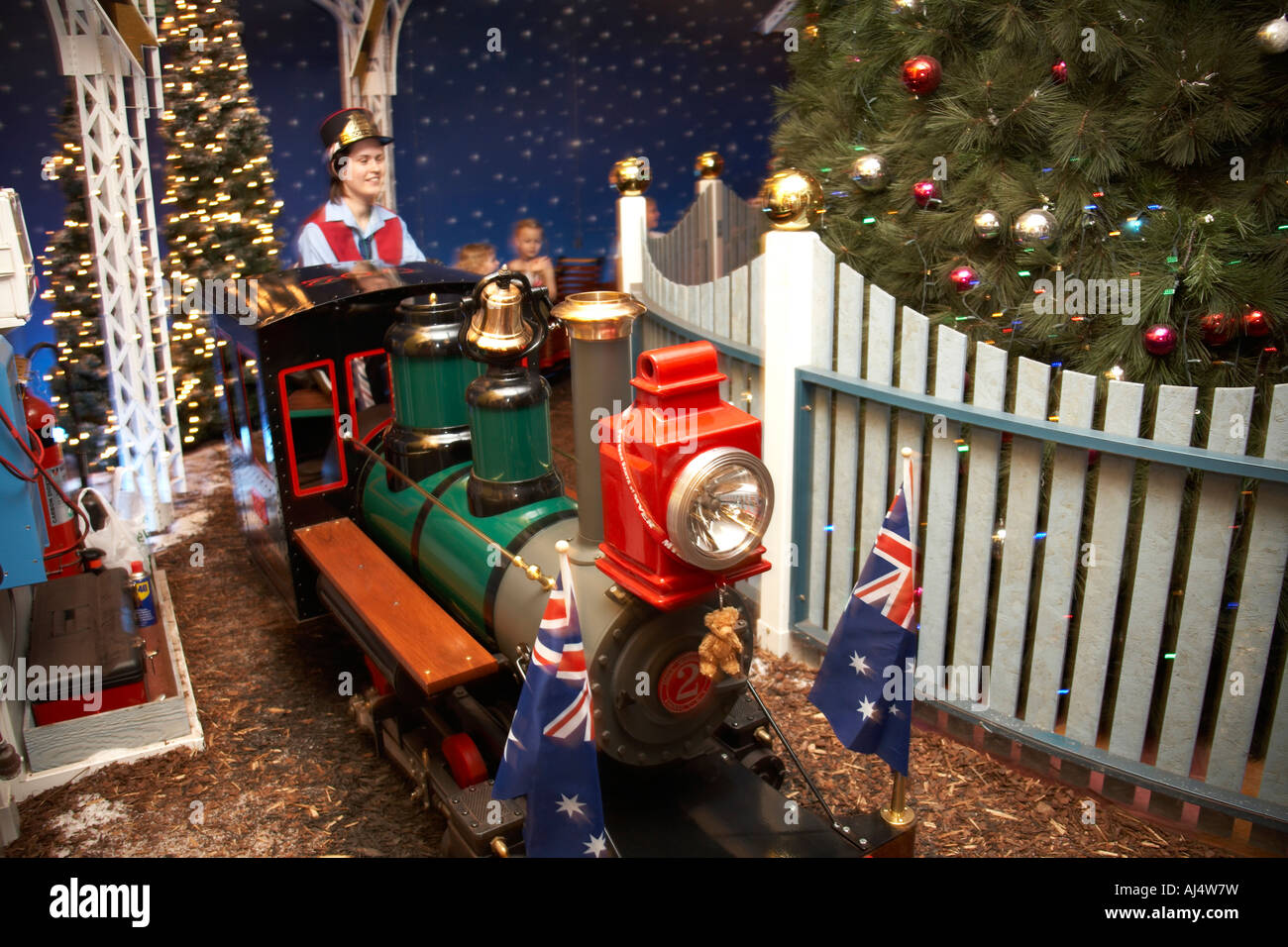 Christmas Train Ride.Children On Department Store Magical Christmas Train Ride In