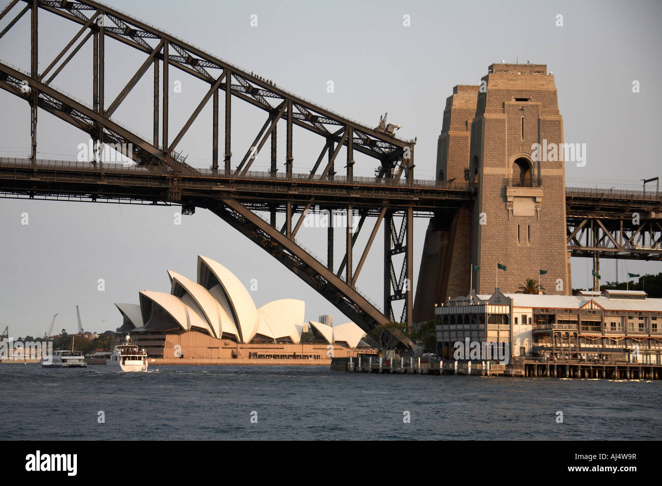 Harbour Bridge and Opera House in Sydney New South Wales NSW Australia - Stock Image