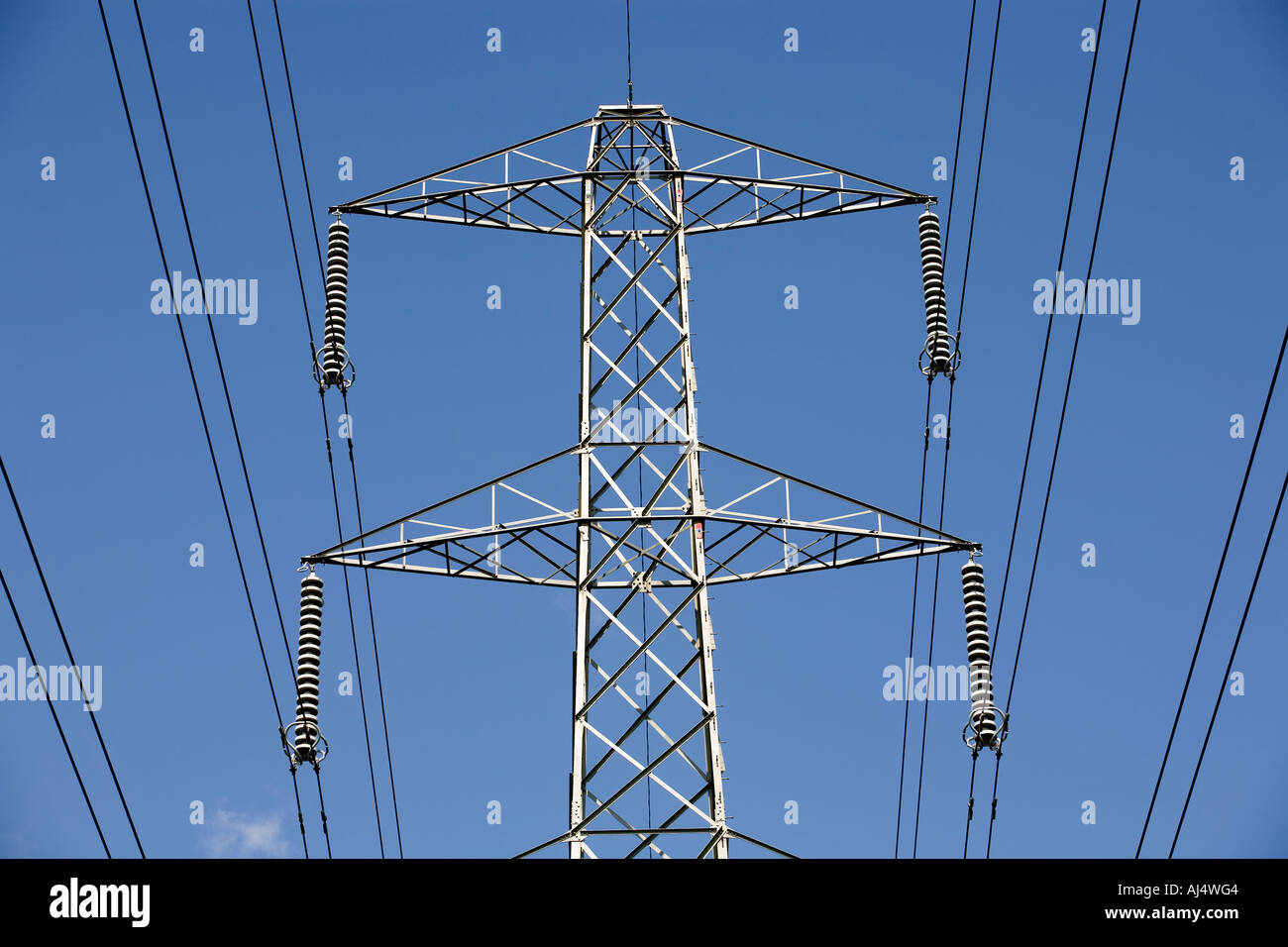 An electricity pylon carrying power to homes and businesses in the ...