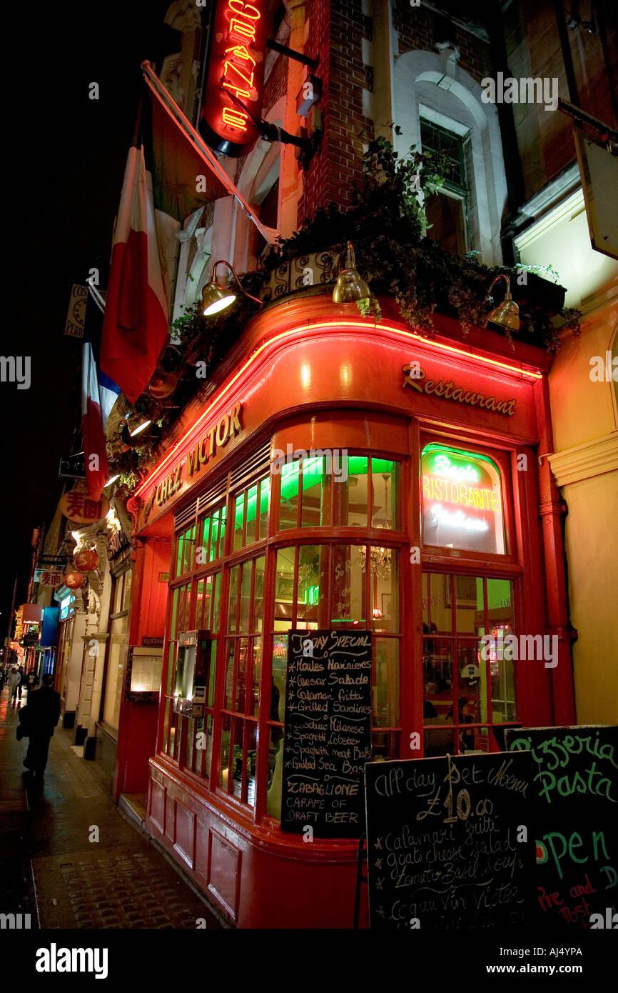 Chez Victor Restaurant Wardour Street in Soho London England - Stock Image