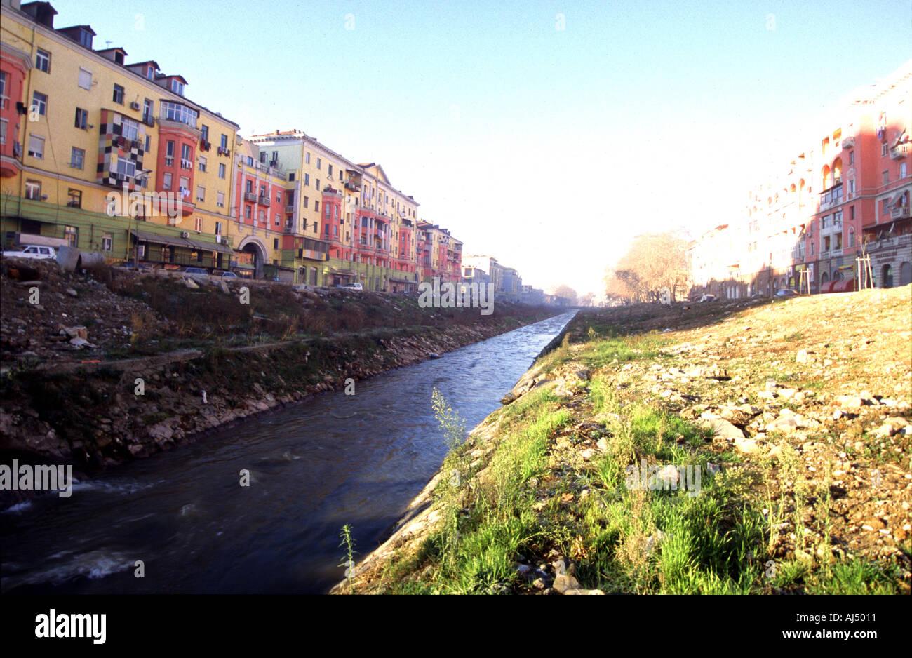 Polluted River Drini Tirana Albania Balkans Stock Photo
