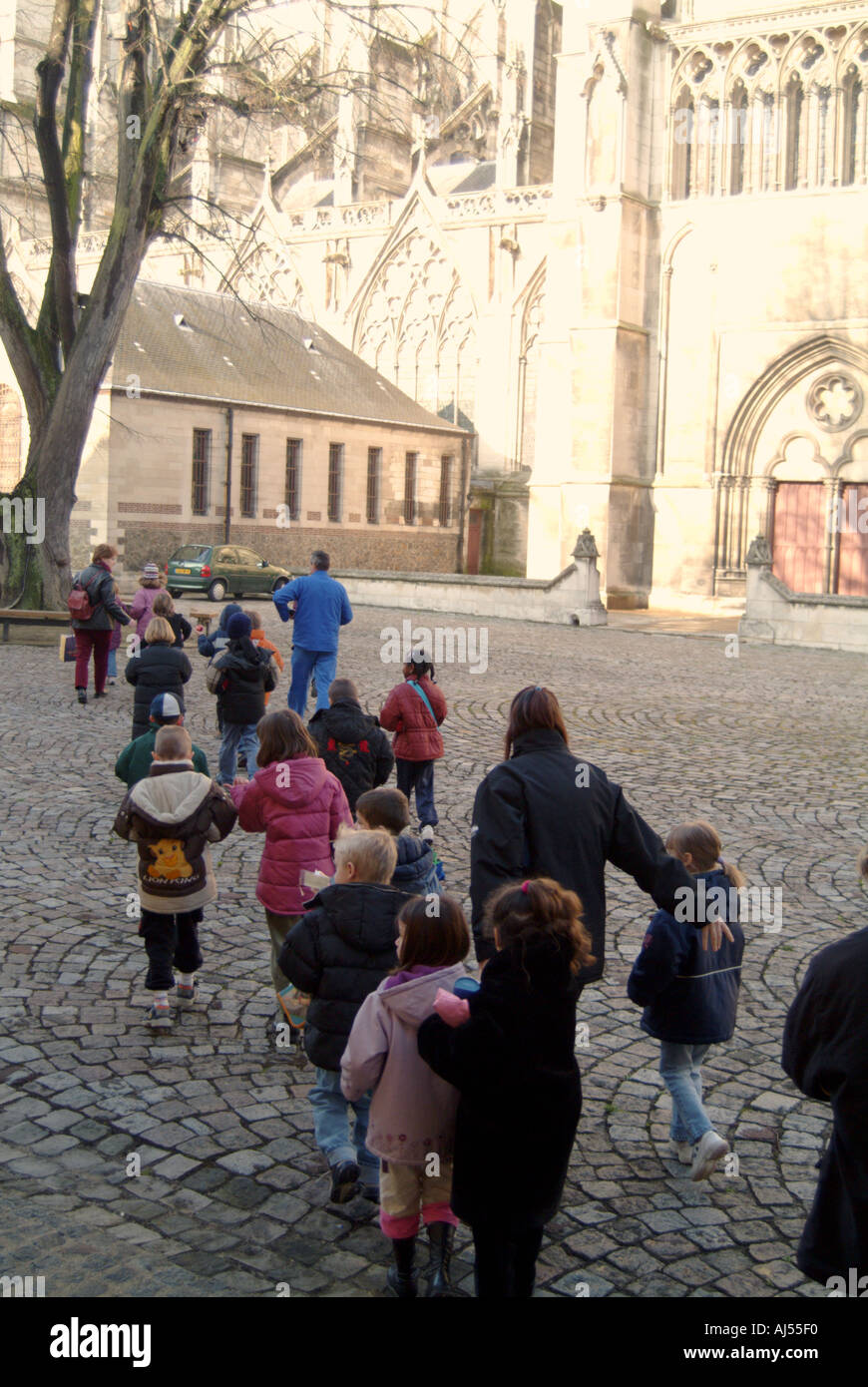 France Aube Troyes Schoolchildren at the cathedral - Stock Image