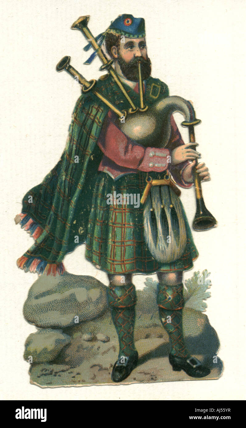Chromolithographed die cut scrap of Highlander playing bagpipes - Stock Image