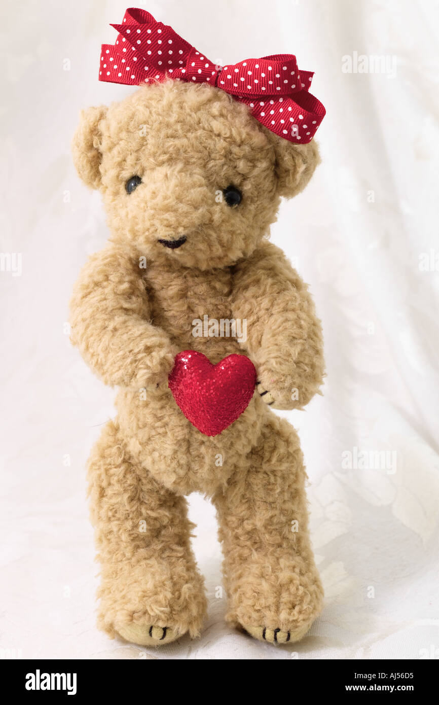 Valentine Bear with Heart - Stock Image
