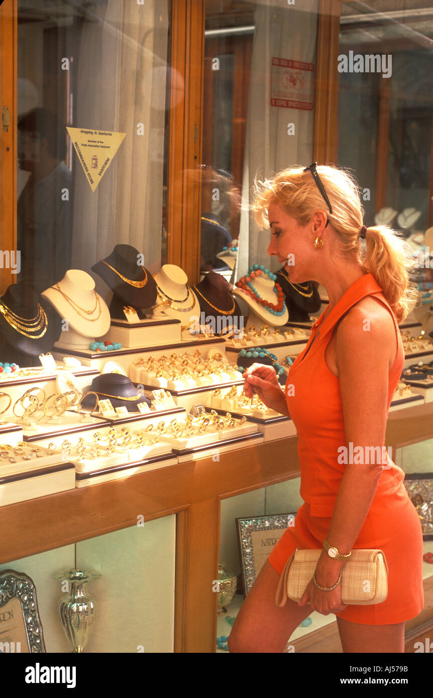 Athens Greece Woman Shopping for Jewelry in Santorini Greece