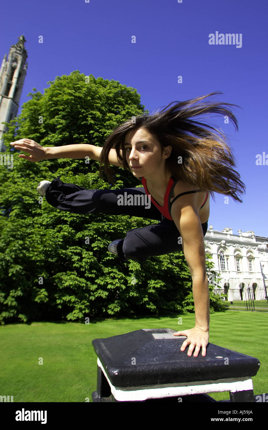 le parkour or free running in cambridge uk - Stock Image