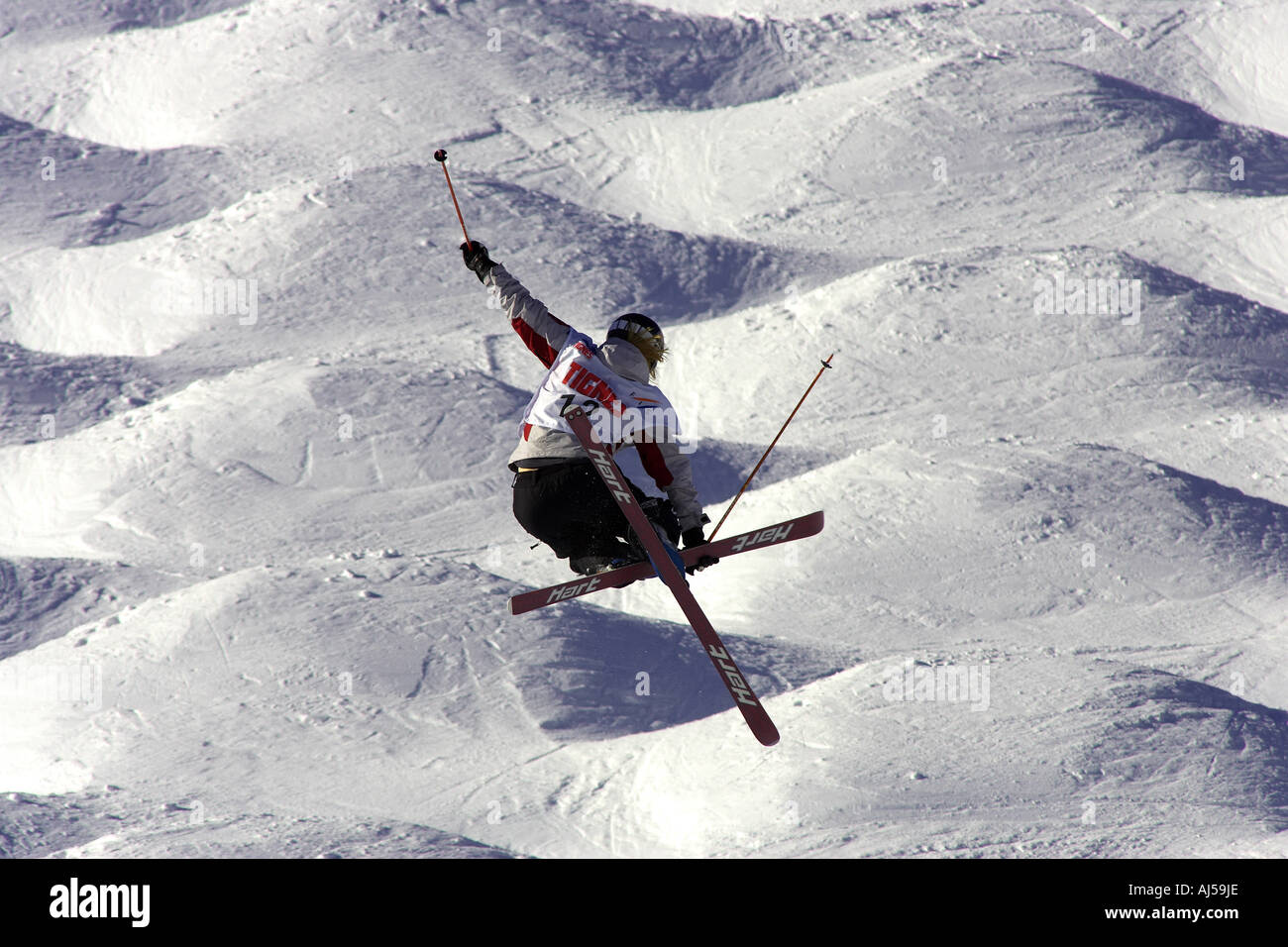 skier in freestyle world cup in tignes france - Stock Image