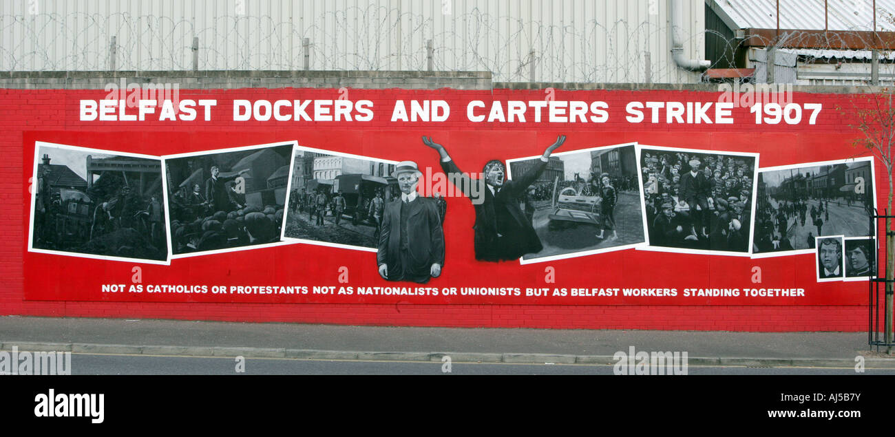 A mural on the lower Falls Road area of west Belfast Northern Ireland Oct 19 2007. Stock Photo