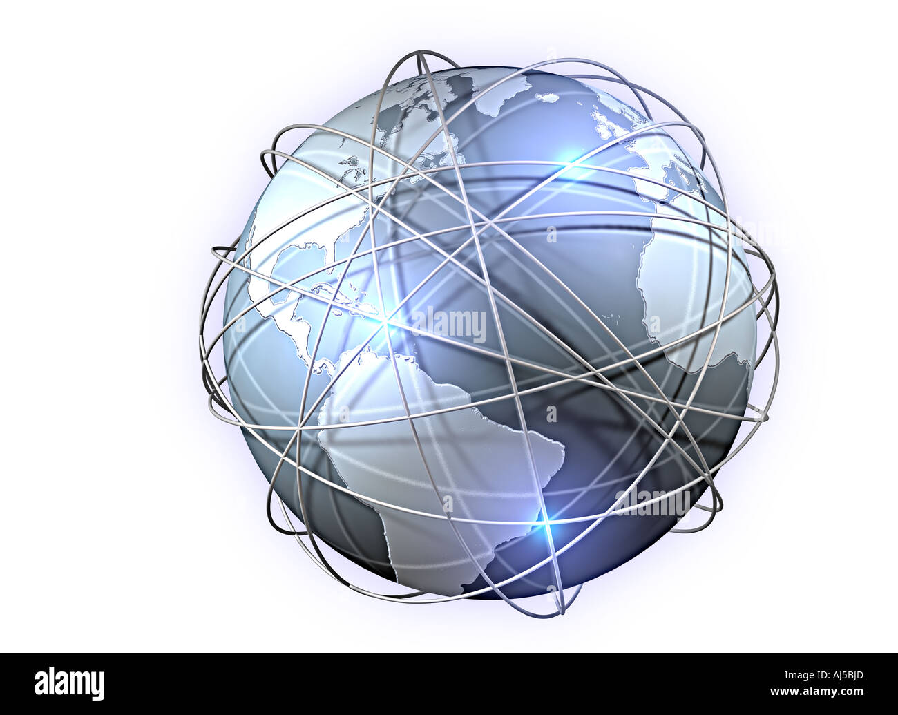 planet earth globe information highway internet net www communication telecommunication - Stock Image