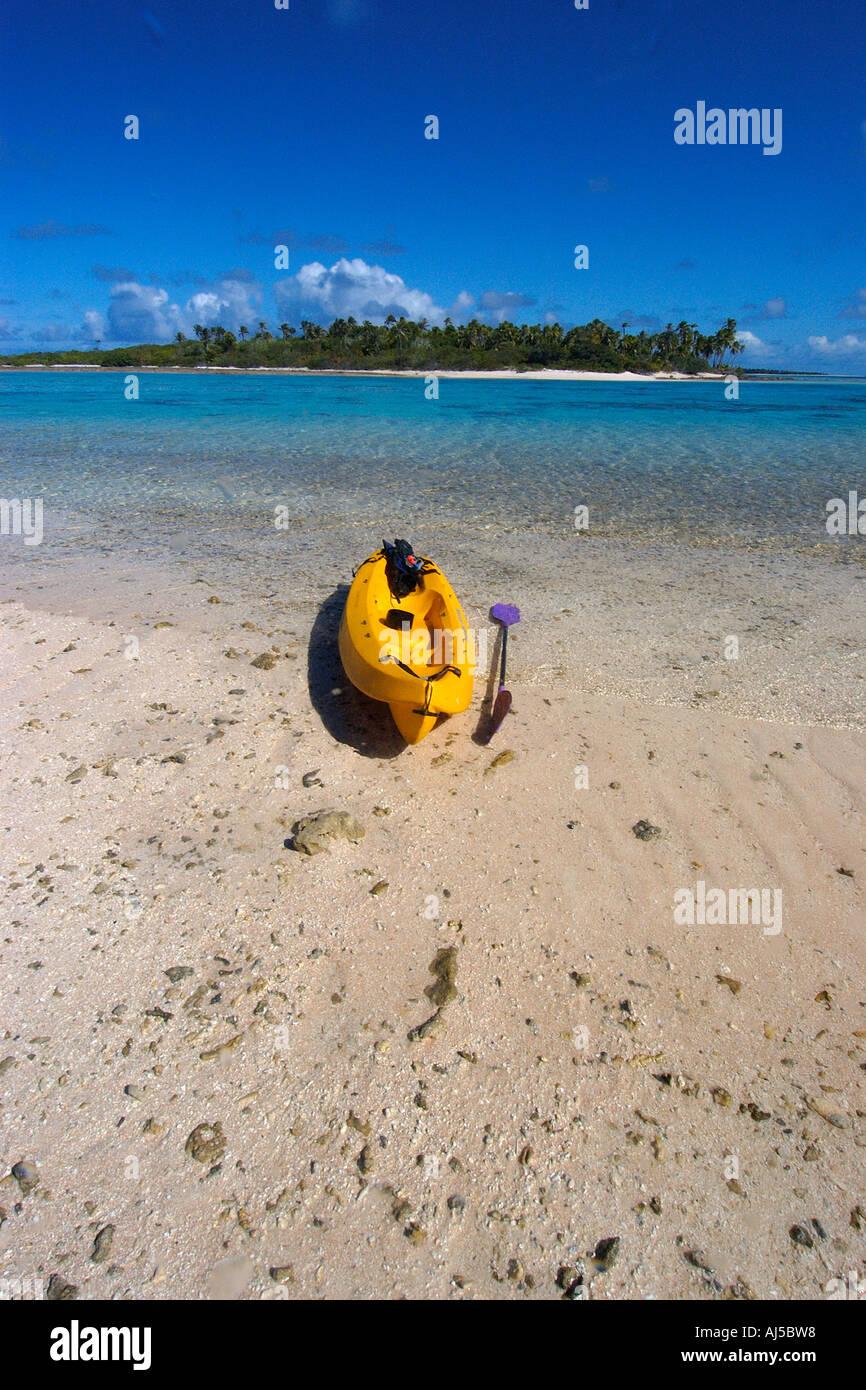 Kayak On Deserted Island Beach Ailuk Atoll Marshall Islands Pacific