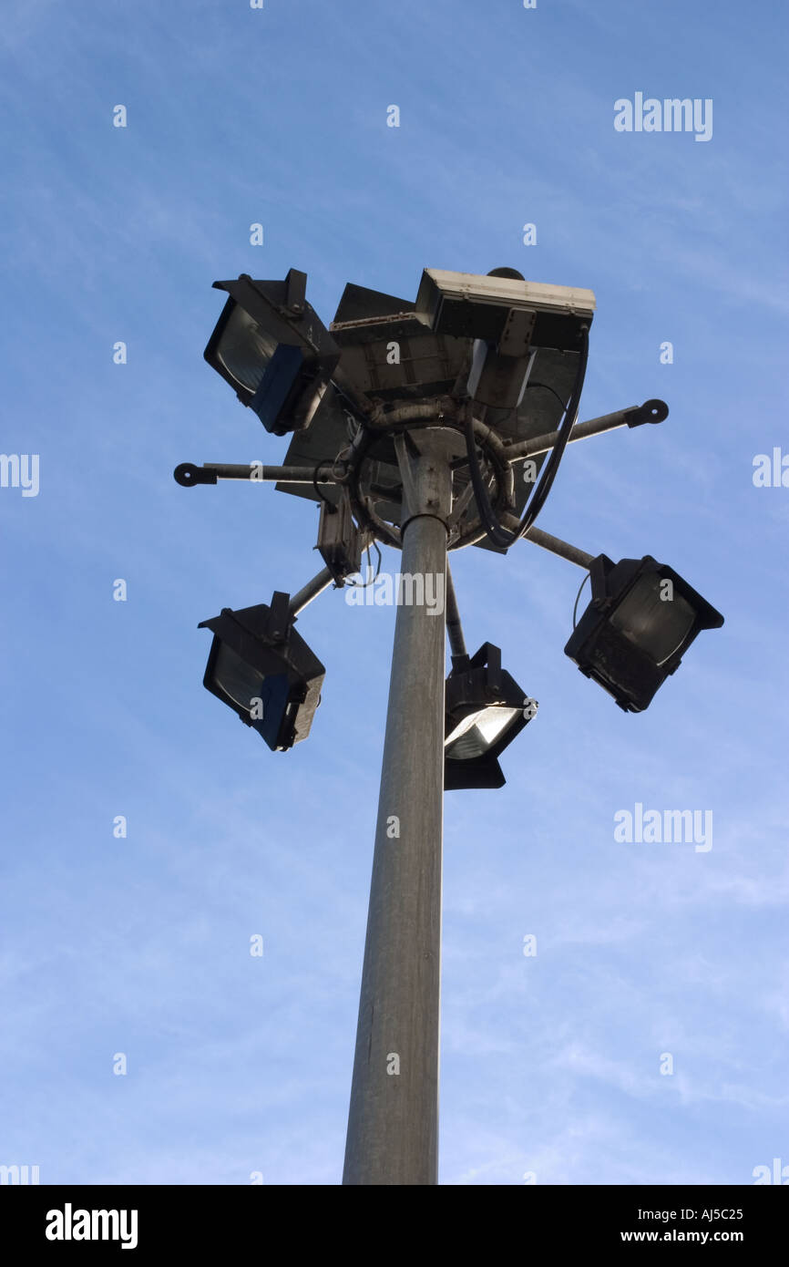 Closed circuit television cameras and flood lights - Stock Image