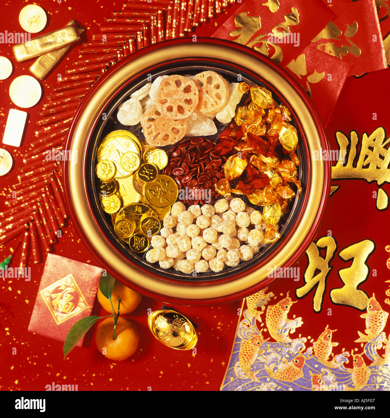Candy box and decoration for Chinese New Year Stock Photo ...