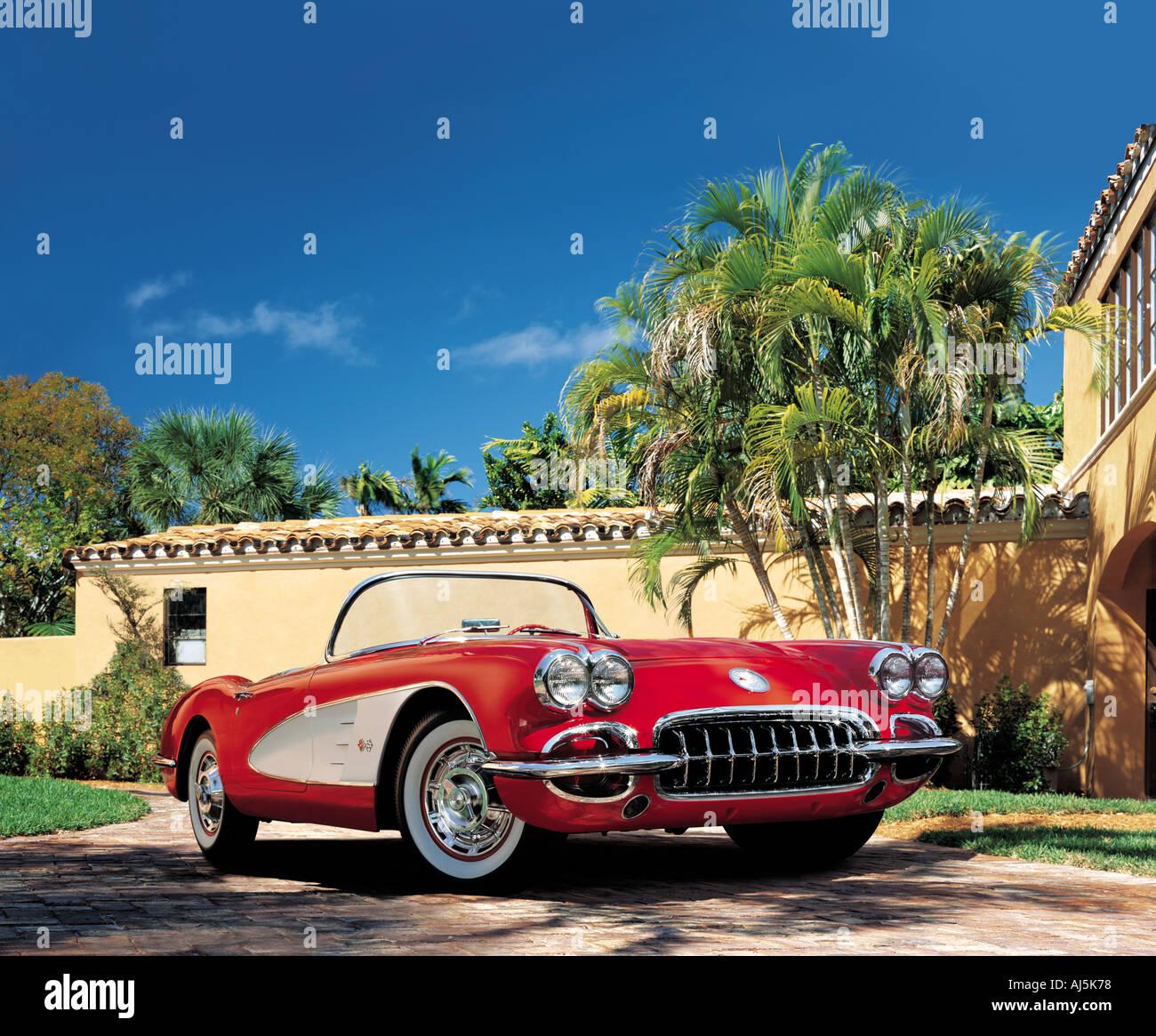 Red and White Teardrop 1960's Chevrolet Corvette - Stock Image