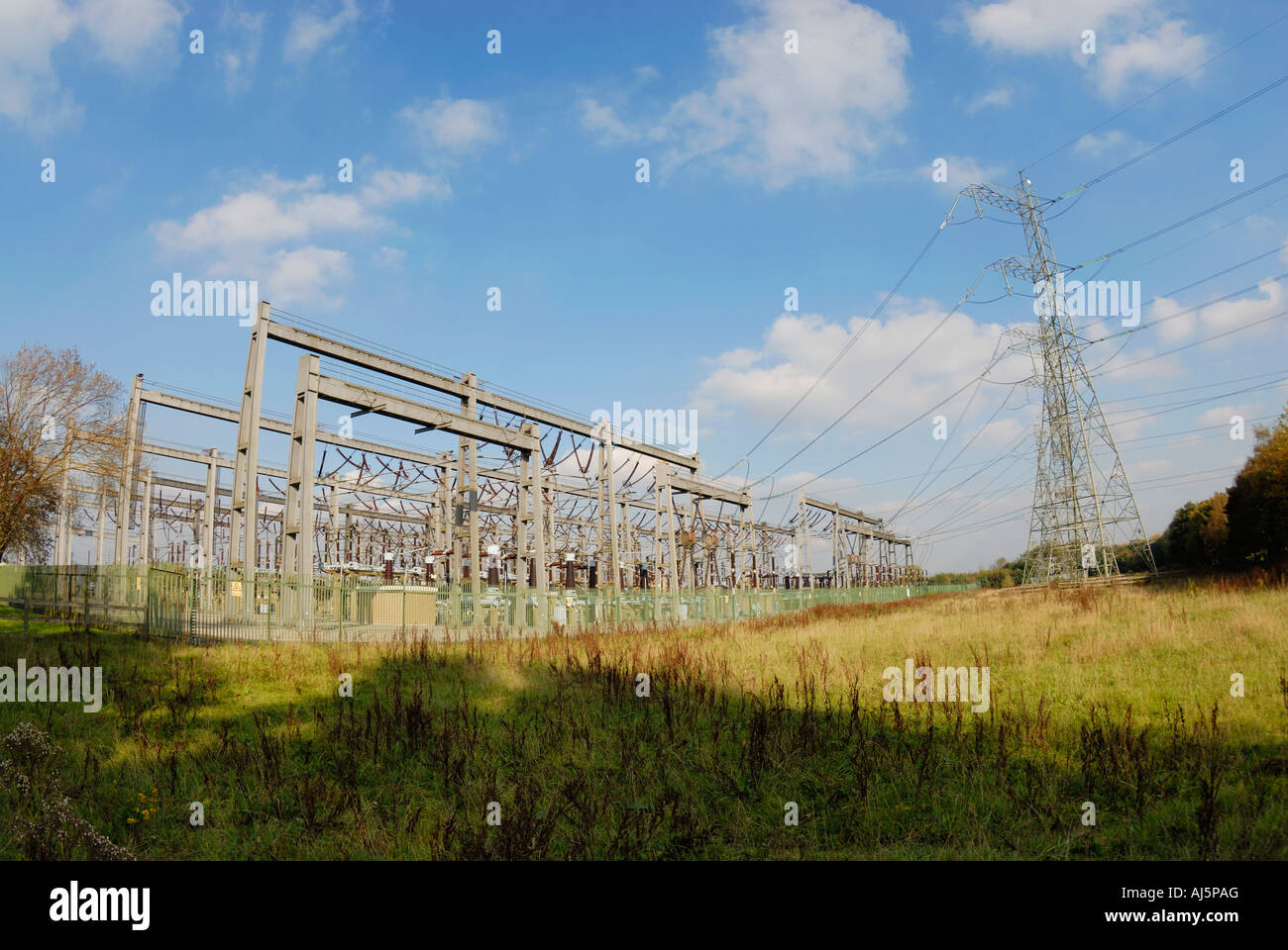 Electricity substation network near Partington in Manchester - Stock Image