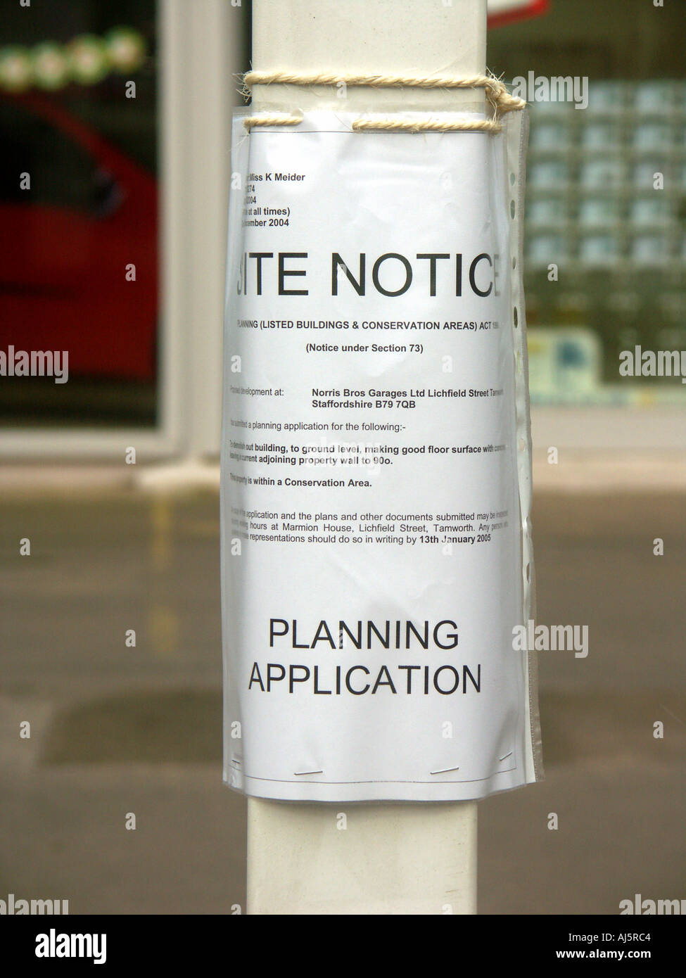 Site Notice Planning Application - Stock Image