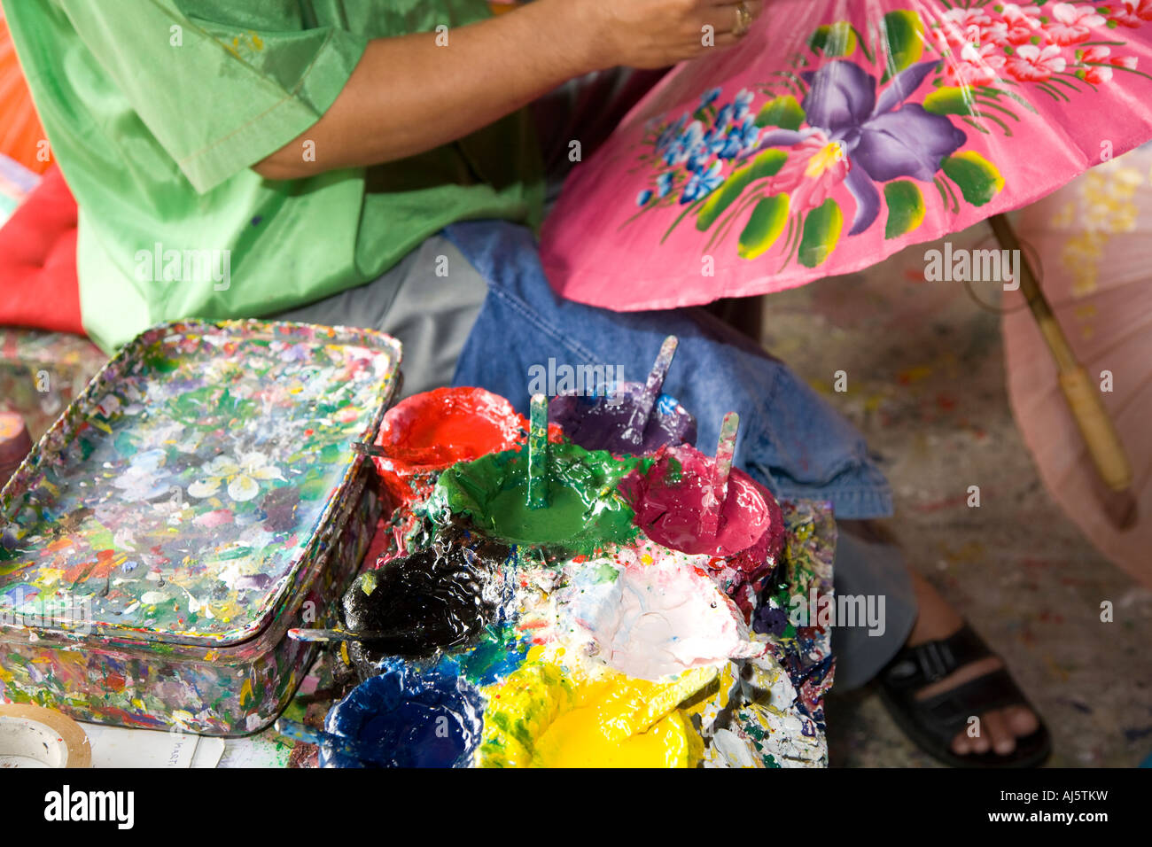 Asian crafts business at Borsang, or Bo sang, or Bor sang. Woman with Umbrella and parasol craft making centre, Stock Photo